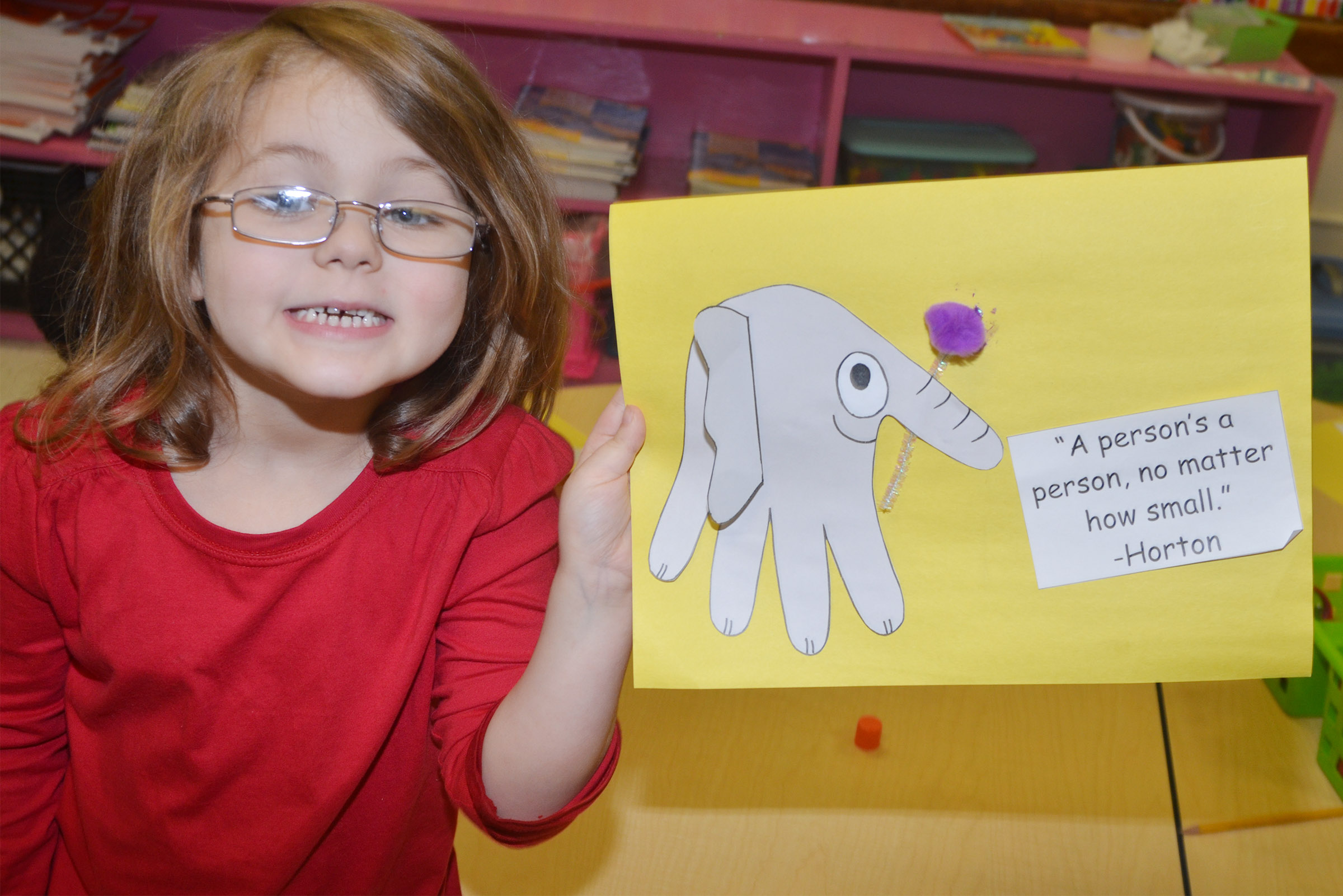CES kindergartener Aubrey Wilson holds her finished Horton character.