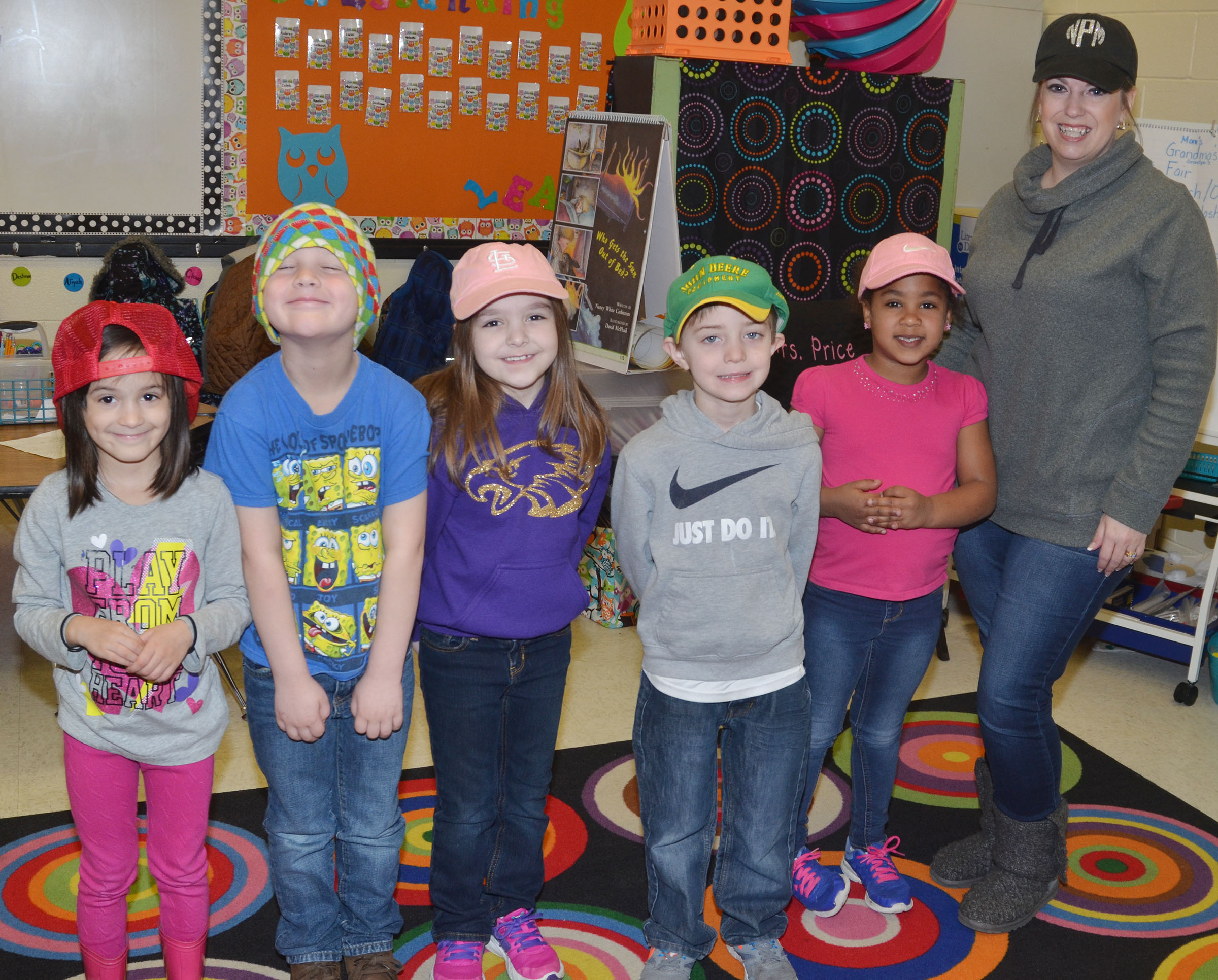CES kindergarten teacher Nikki Price and her students wear hats to raise money for Crusade for Children.