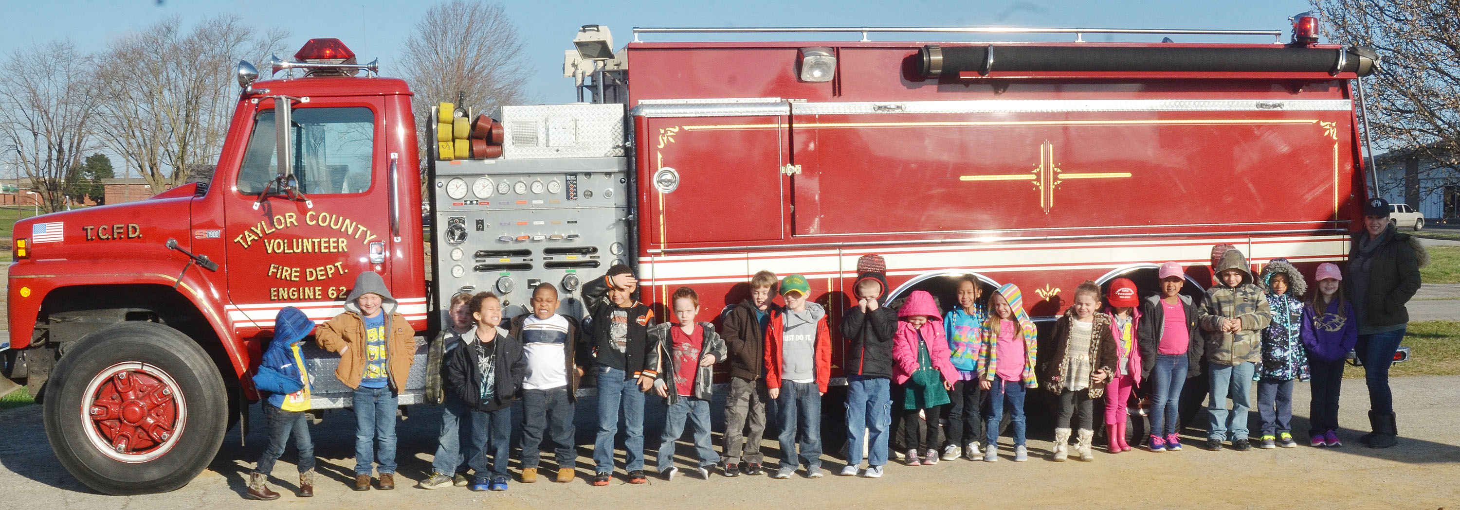 CES kindergarten students in Nikki Price's class take a photo with a Taylor County Fire Department truck.