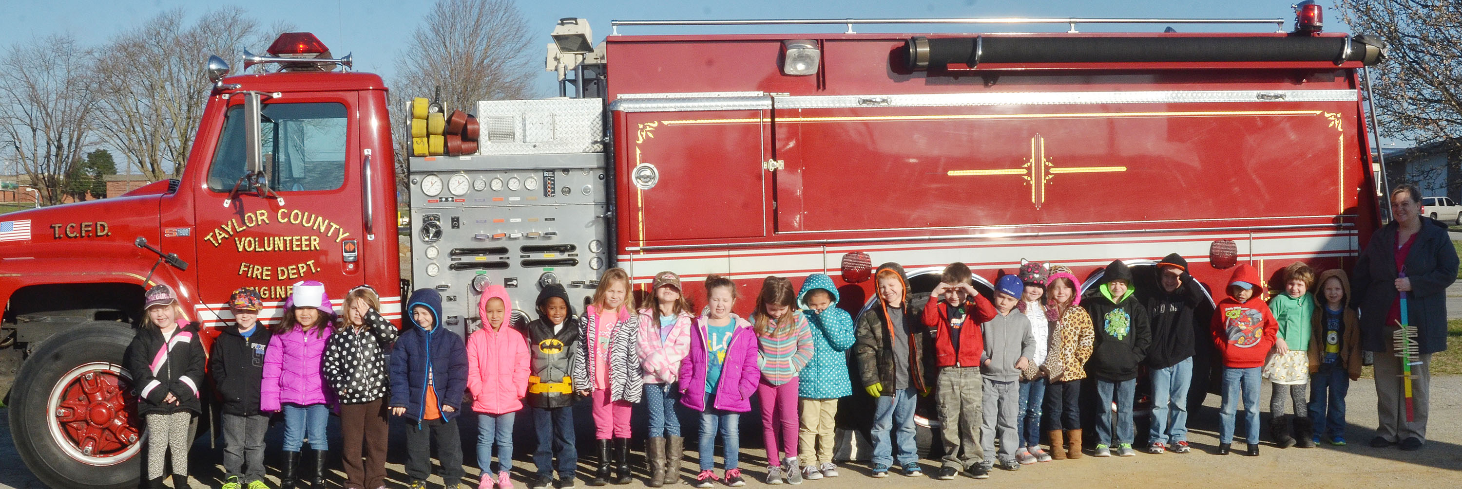 CES kindergarten students in Kimberly Clark's class take a photo with a Taylor County Fire Department truck.