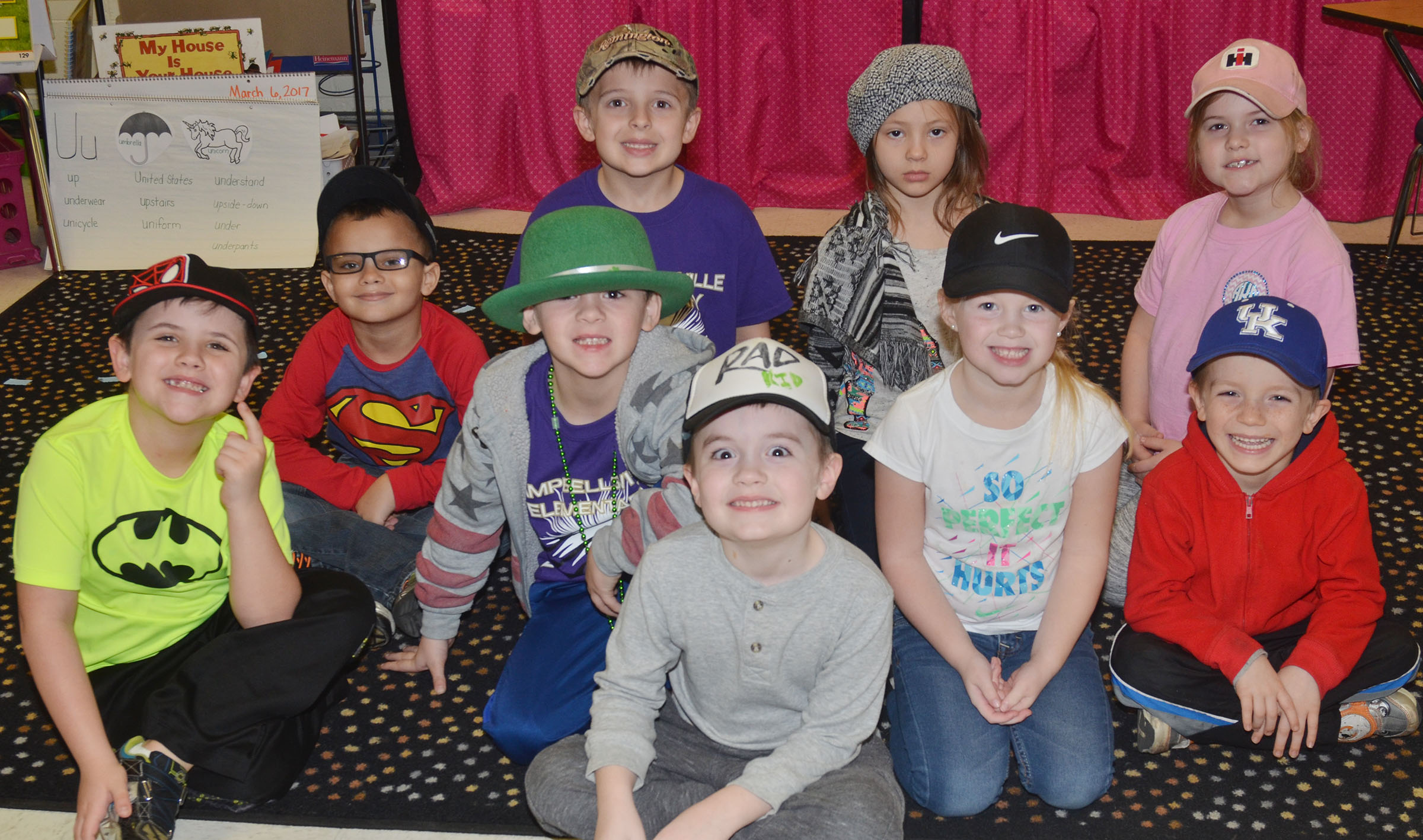 CES kindergarten students in Leanna Cundiff's class wear hats to raise money for Crusade for Children.
