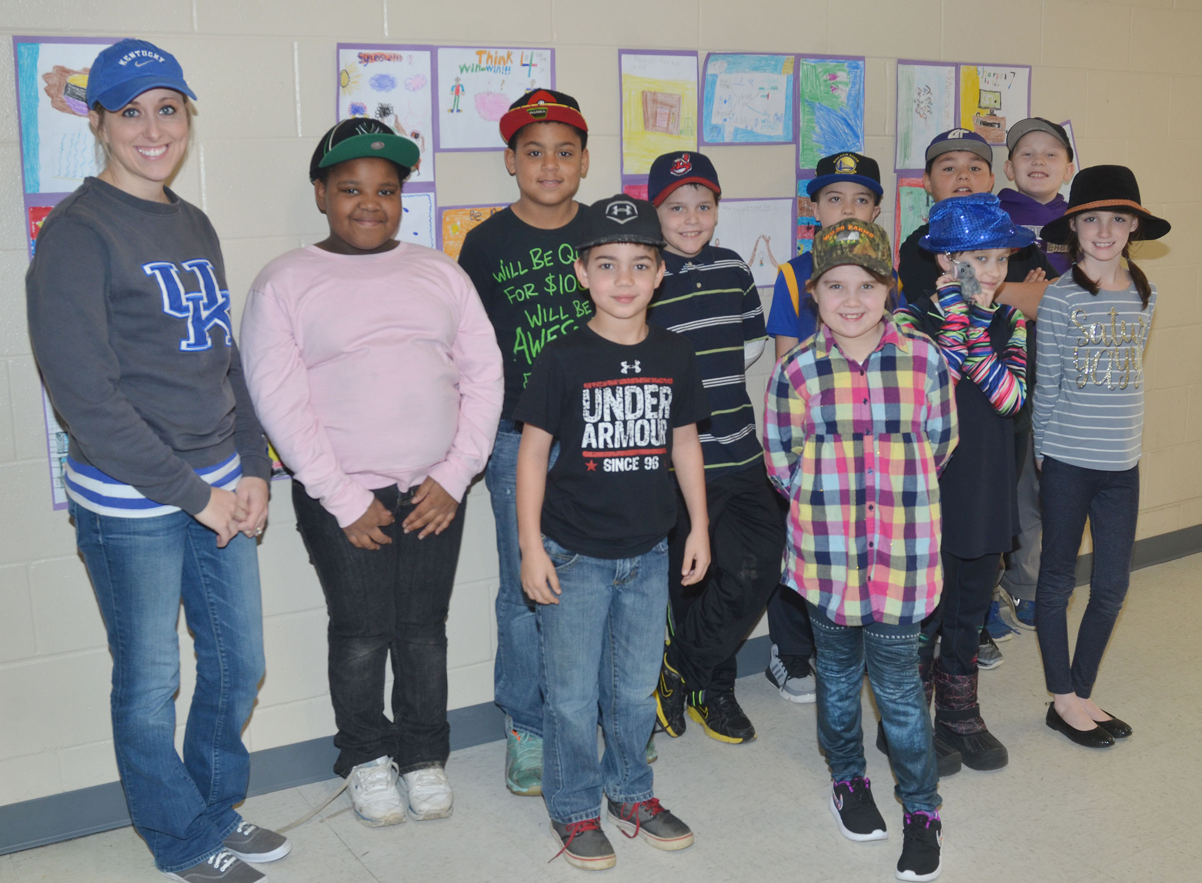 CES third-grade teacher Hannah Jones and her students wear hats to raise money for Crusade for Children.