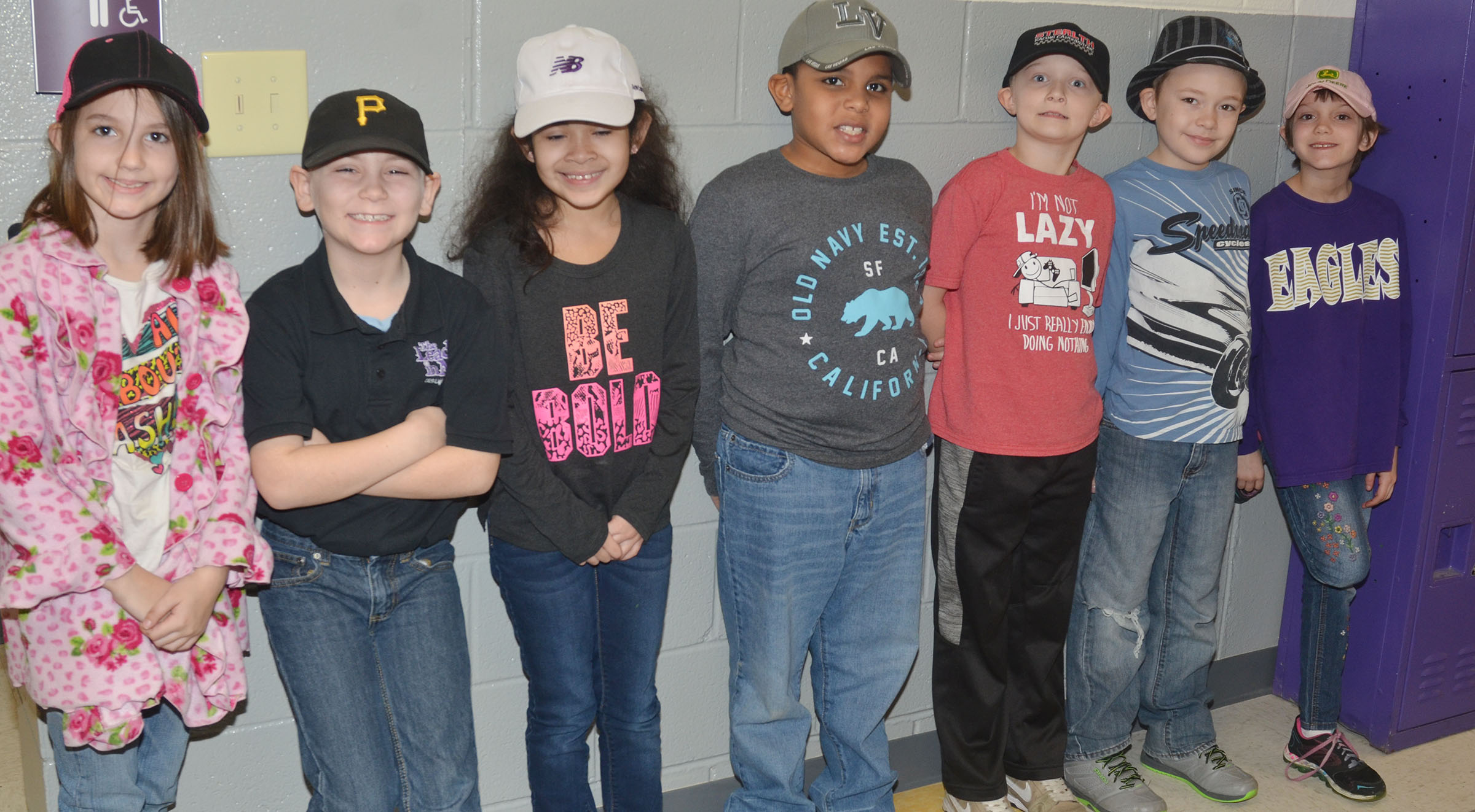 CES second-grade students in Lynne Horn's class wear hats to raise money for Crusade for Children.