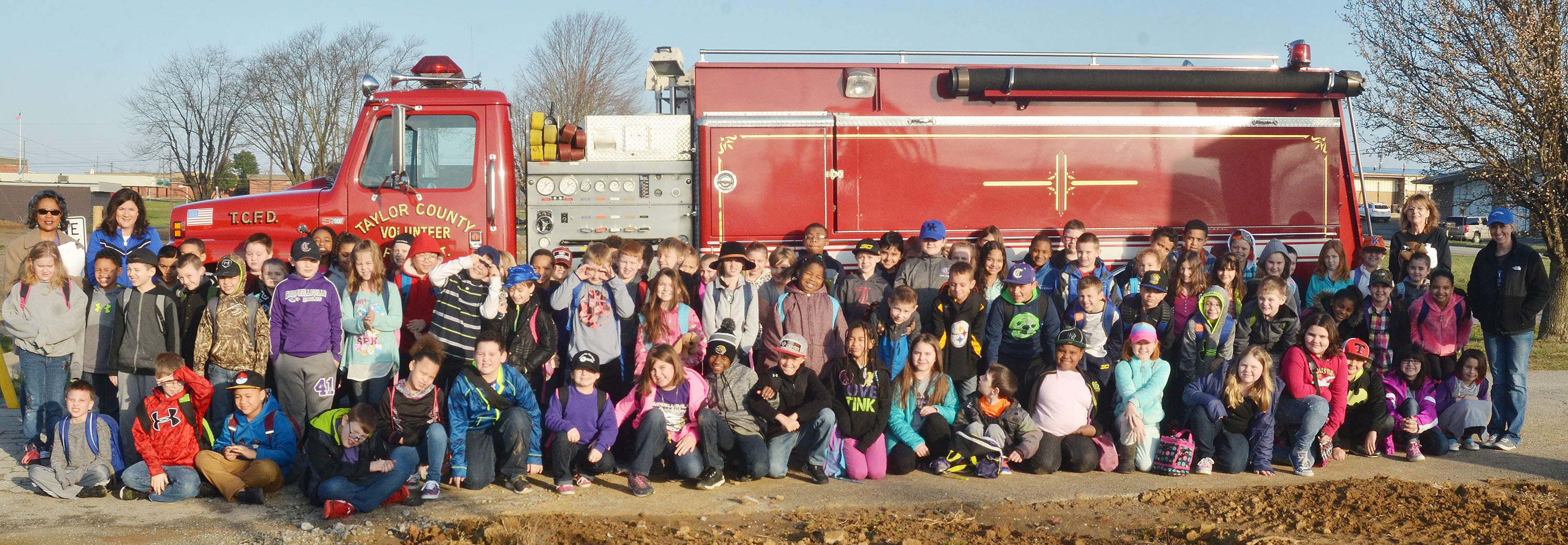 CES third-grade students take a photo with a Taylor County Fire Department truck.