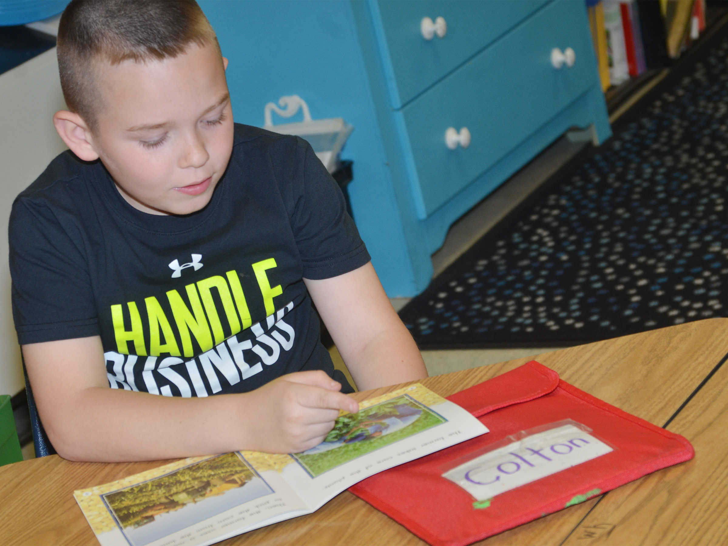 CES first-grader Colton Maggard reads aloud.