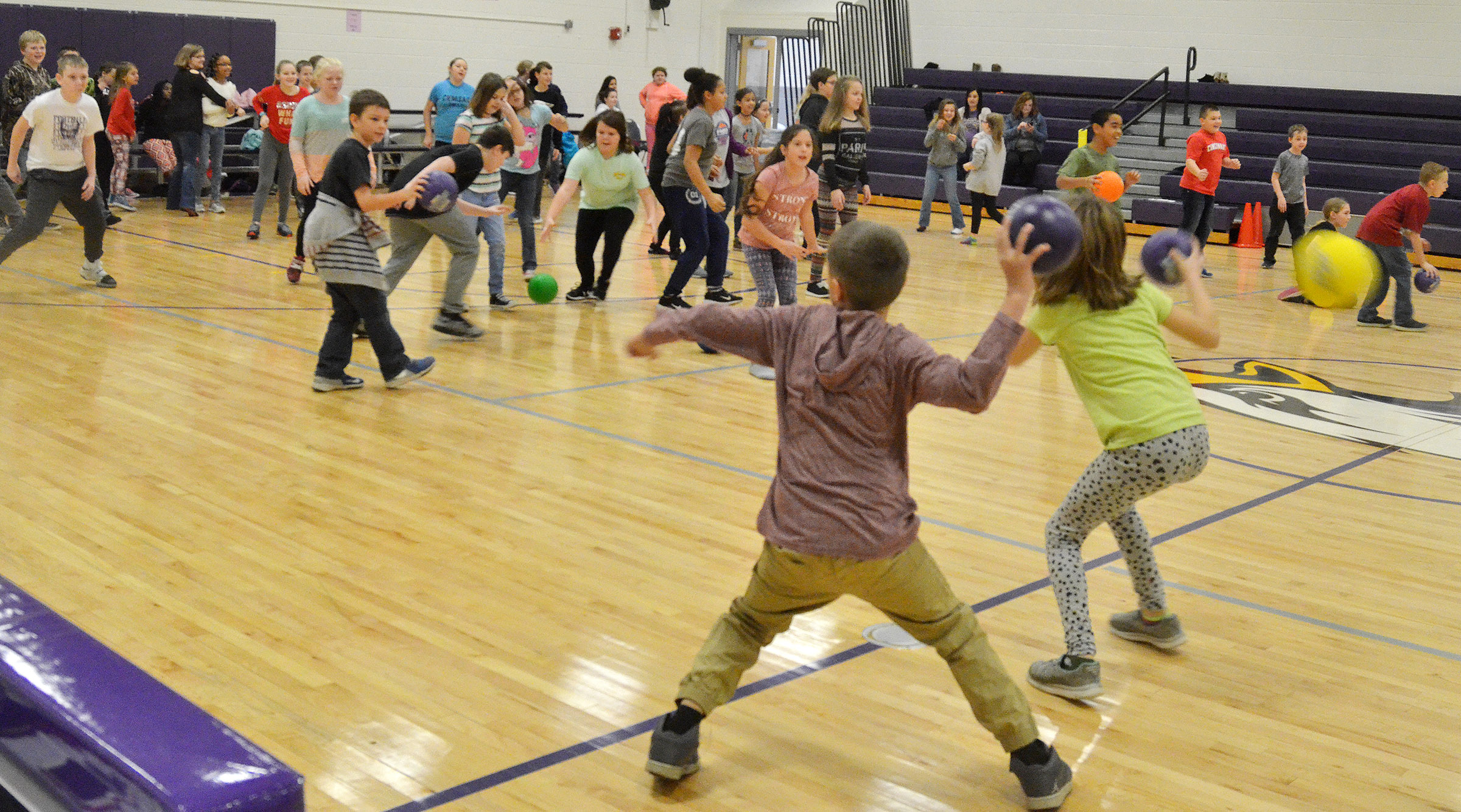 CES fourth- and fifth-graders battle in a dodgeball tournament.