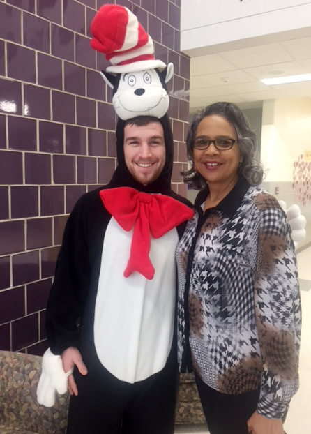 CU education student David Sparks poses for a photo with CES Assistant Principal Doretha Sanders.