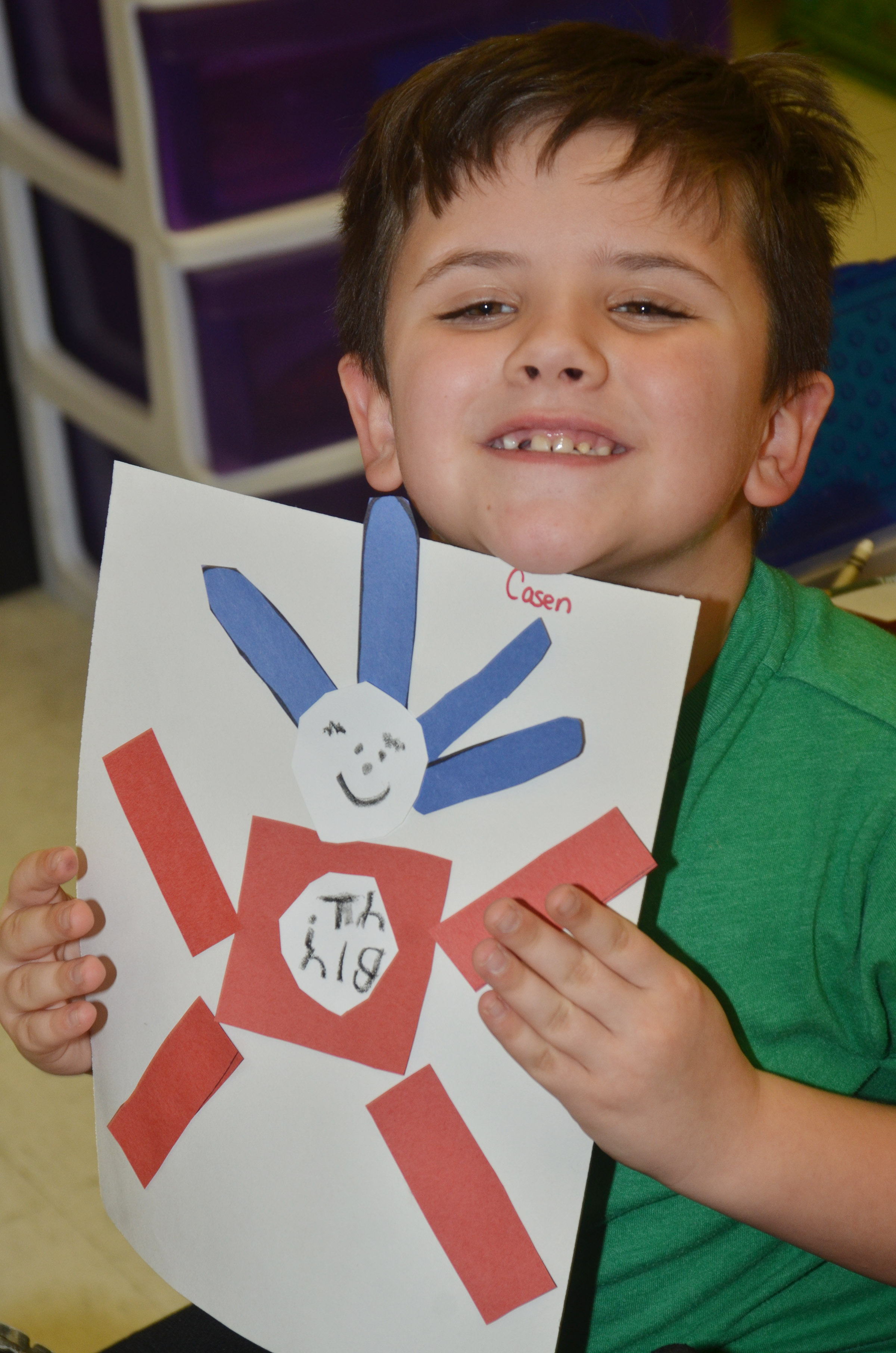 CES kindergartener Casen Meredith holds his finished Thing 1 character.