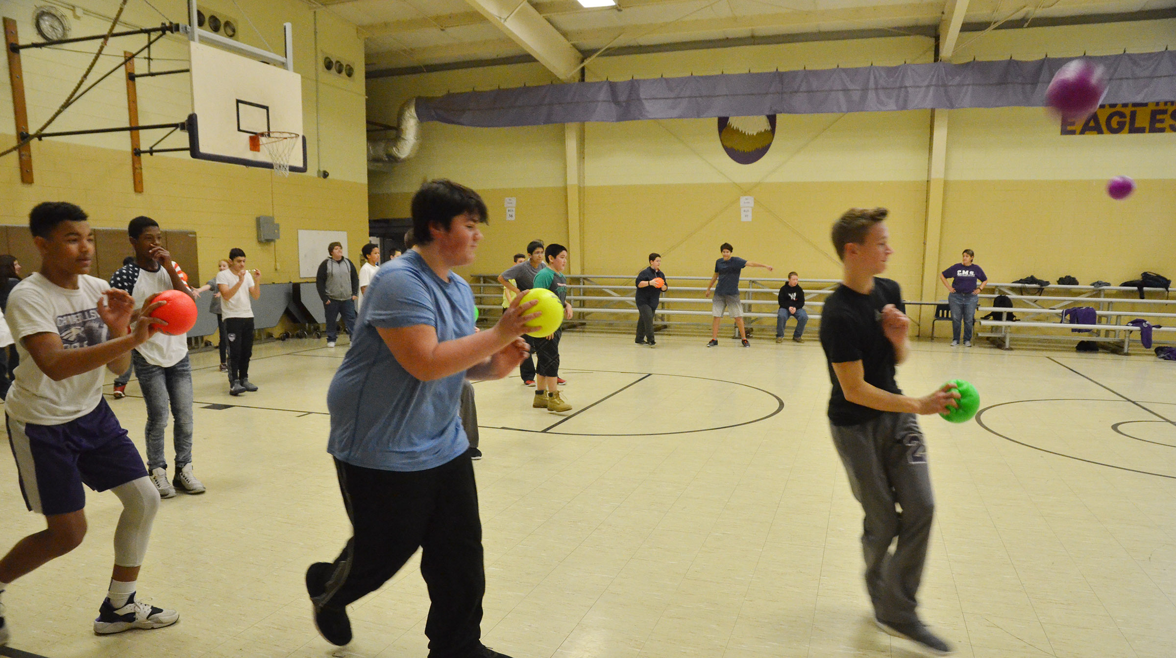CMS eighth-graders compete in a dodgeball tournament.