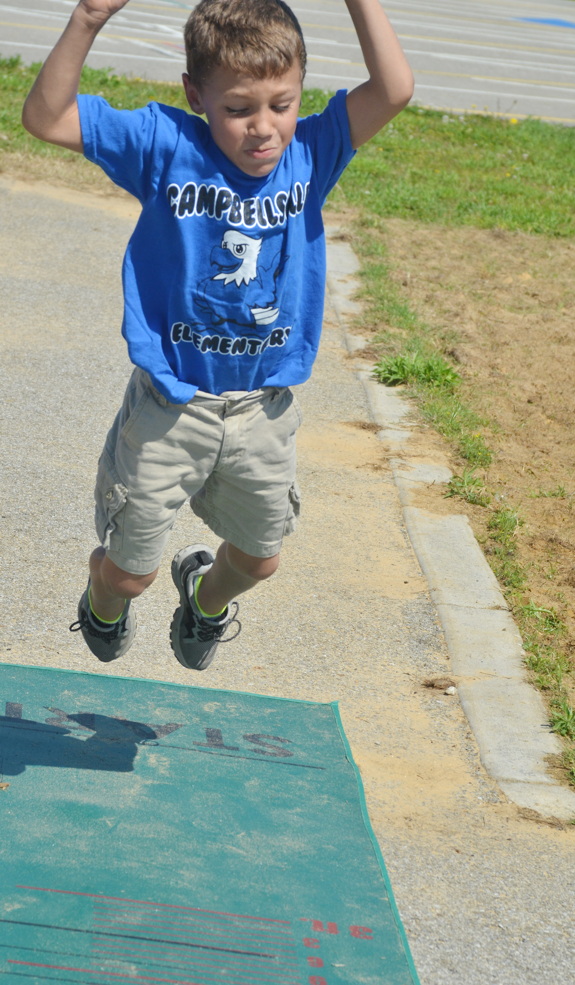 CES first-grader Shylan Dunn jumps.