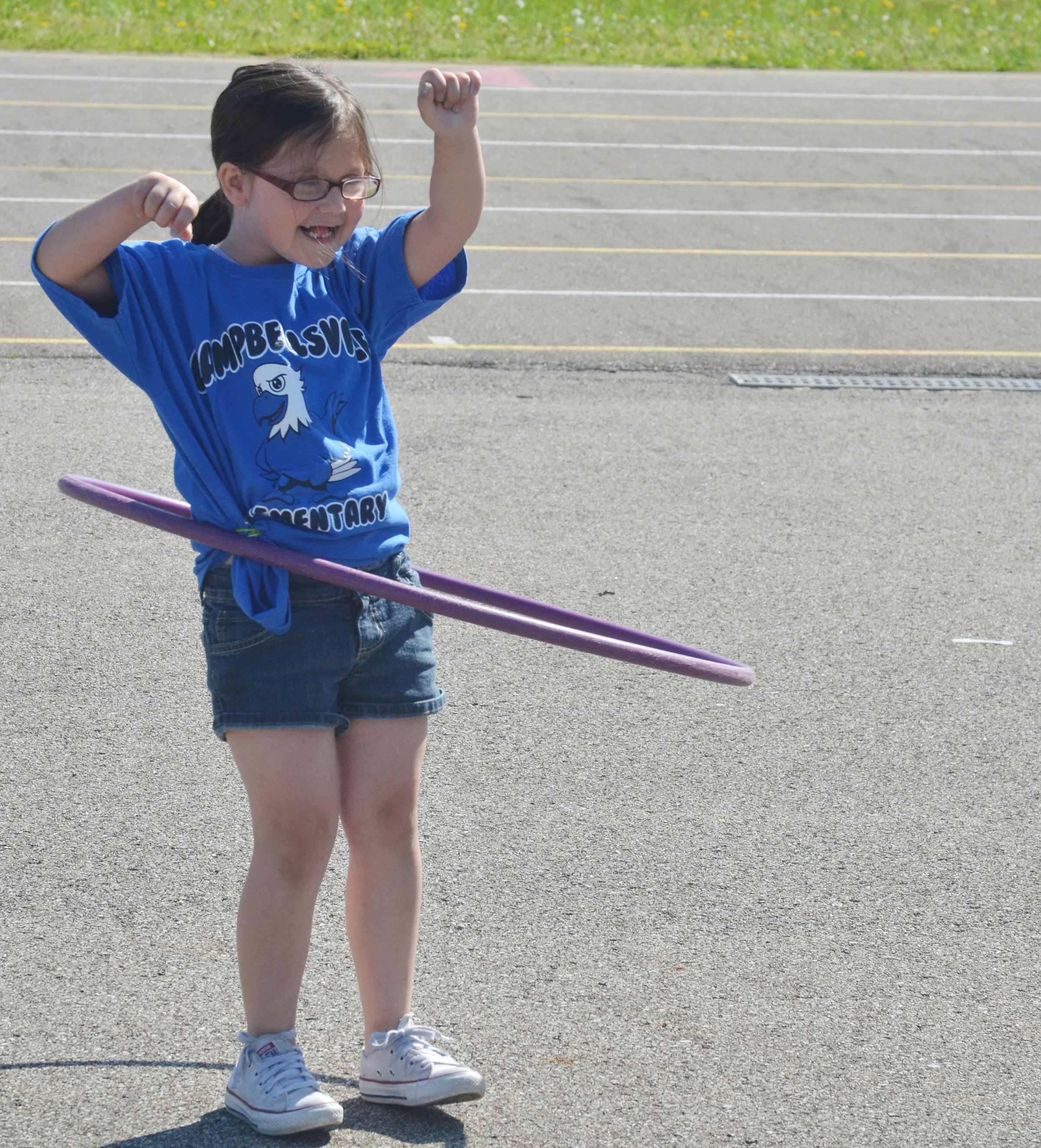 CES kindergartener Trinity Clark competes in the hula hoop competition.