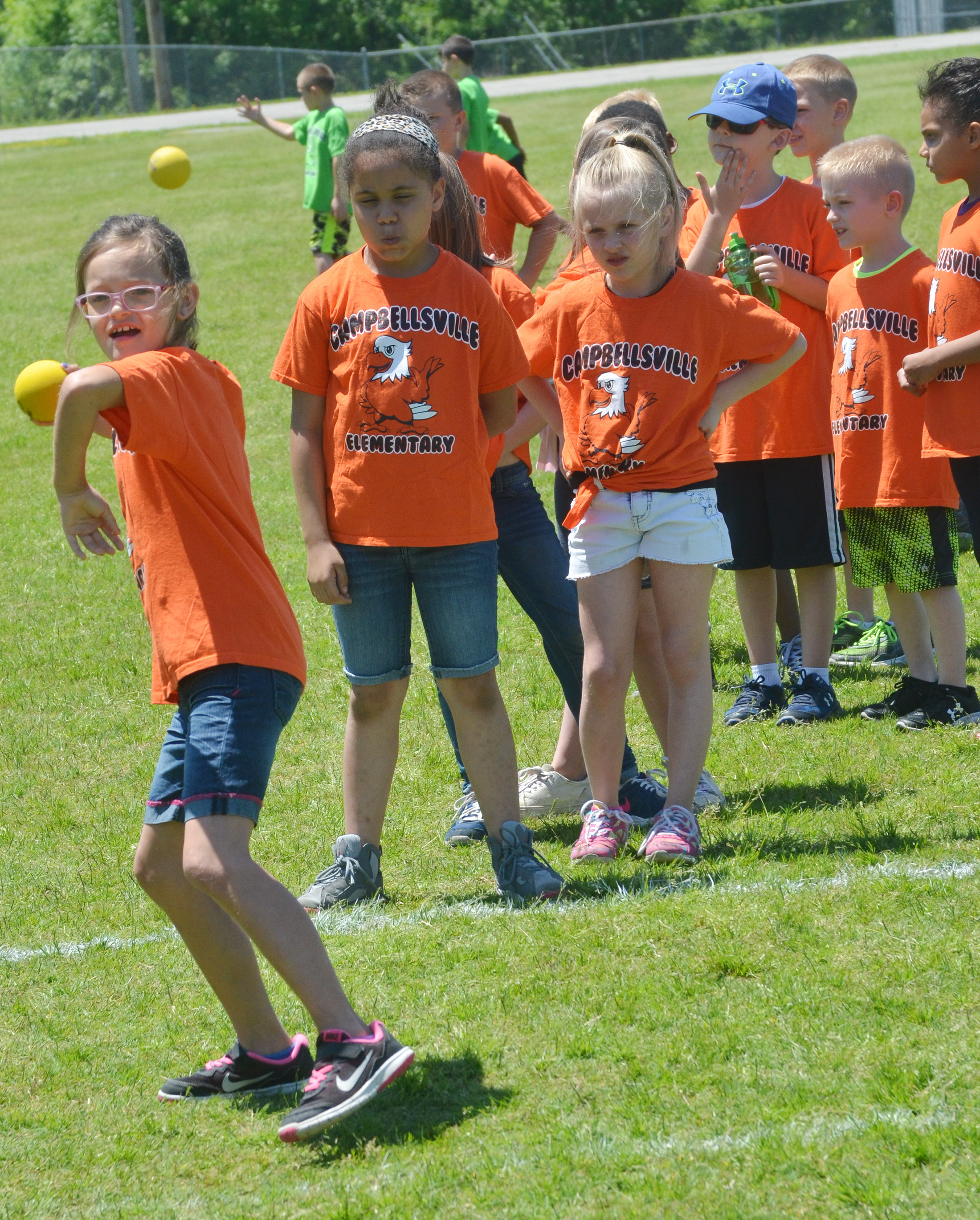 CES second-grader KayLee Lamer throws the ball.