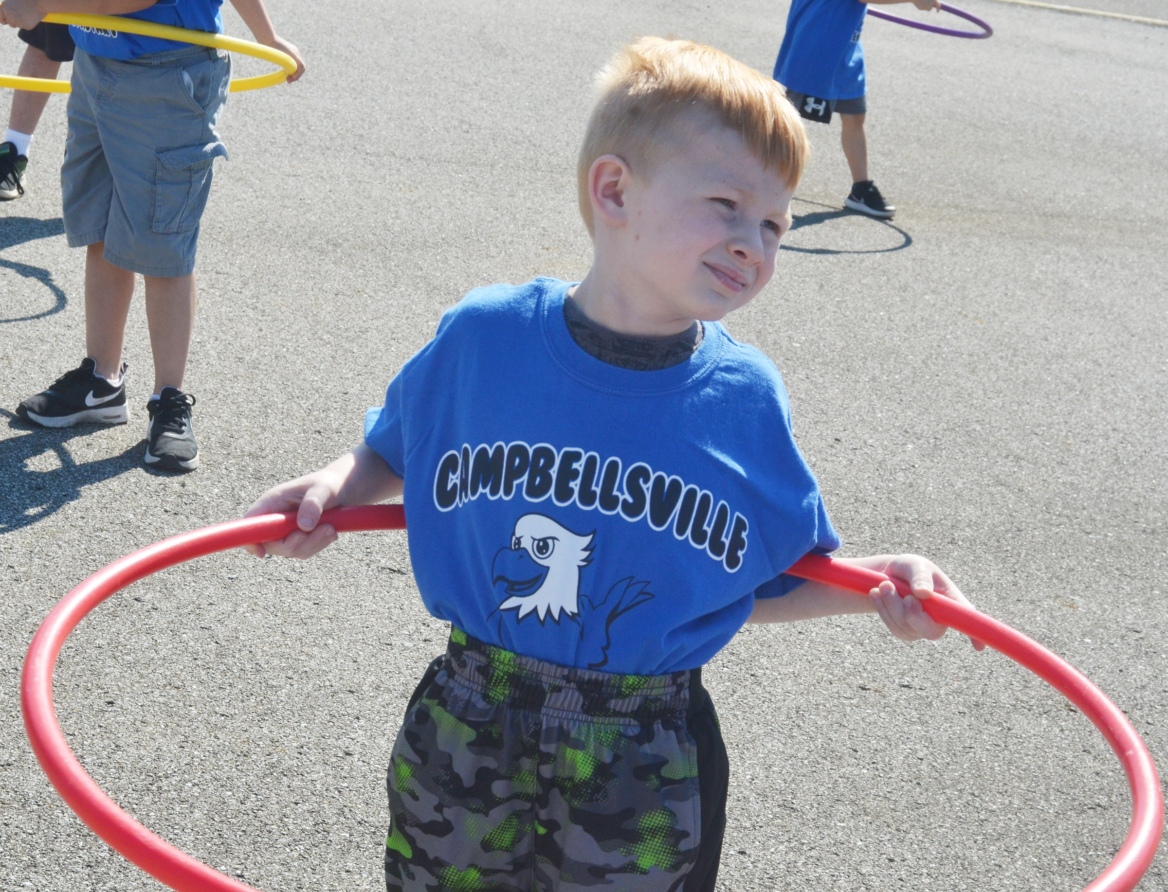 CES kindergartener Jayden Maupin gets ready to hula hoop.