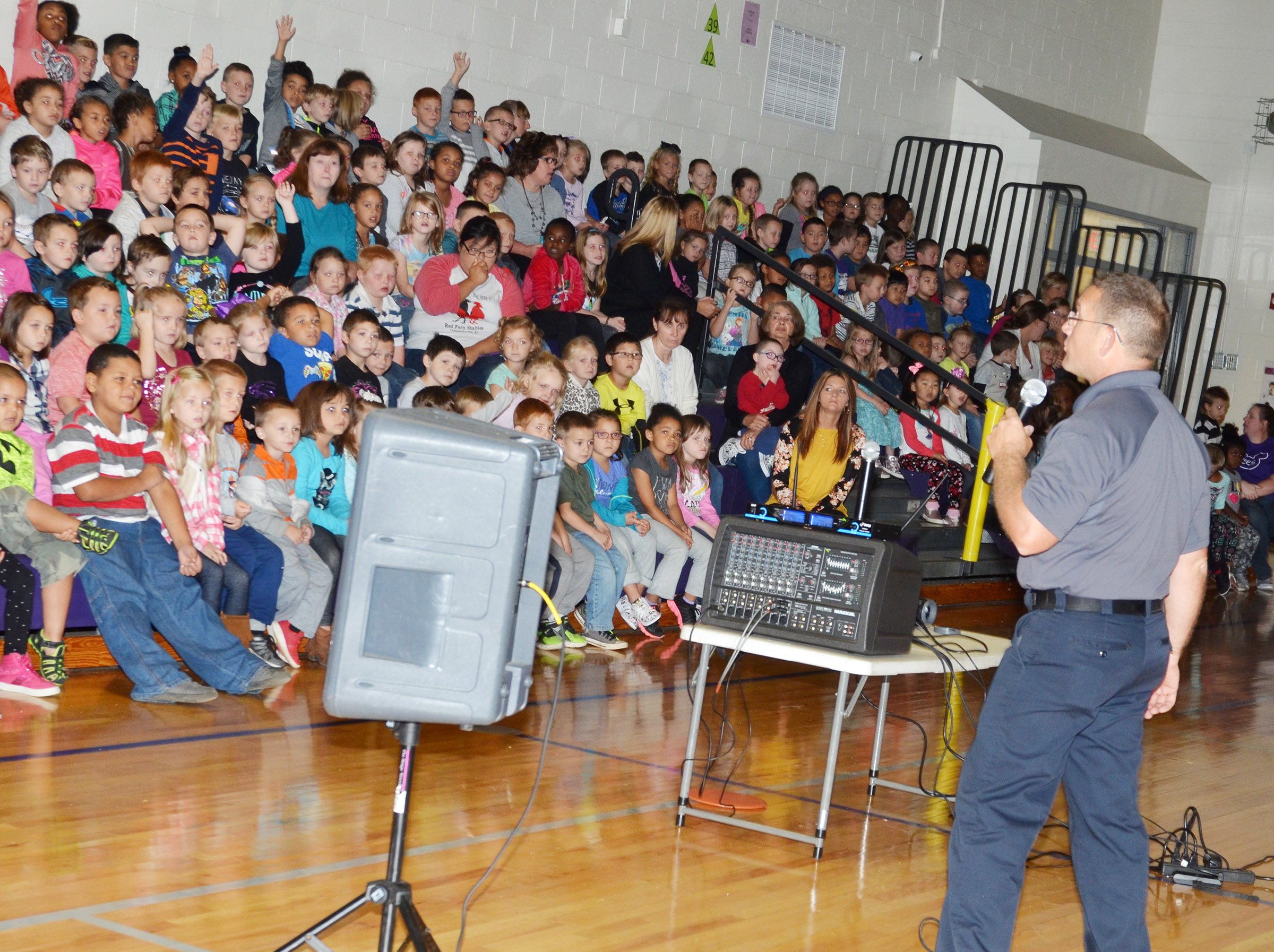 Campbellsville Fire & Rescue Captain Keith Bricken talks to CES students about why every family should have a meeting spot in case of a fire.