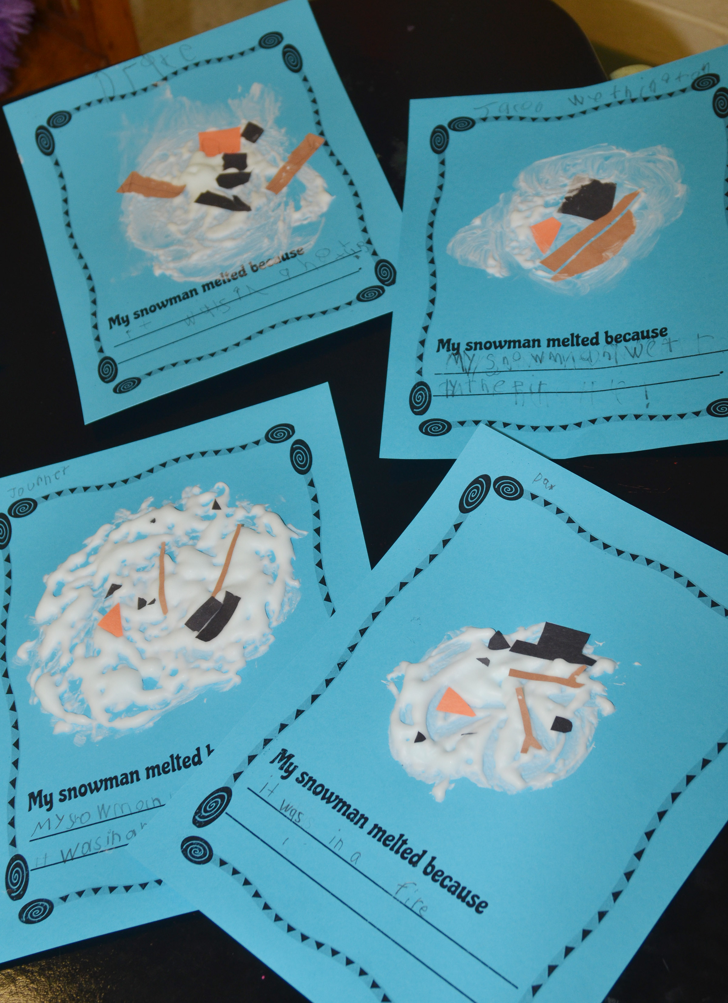 CES first-graders made melted snowmen and wrote why they melted.