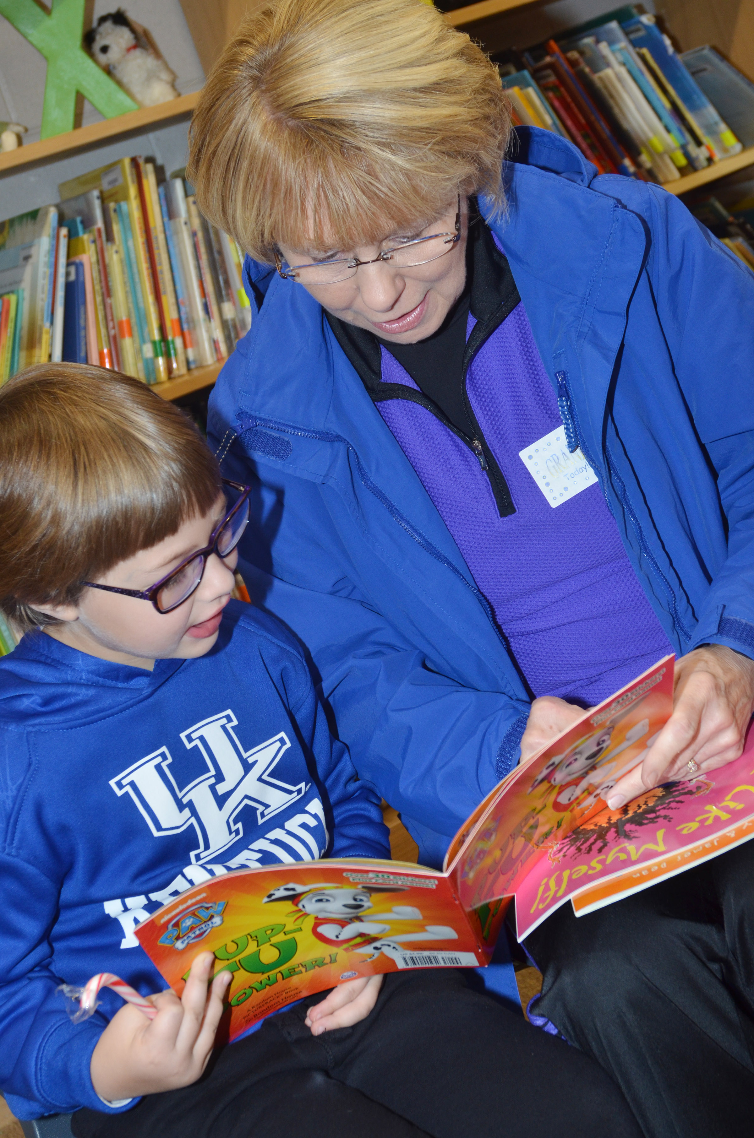 CES first-grader Addelyn Dooley reads with her grandmother, Debbie Stafford.