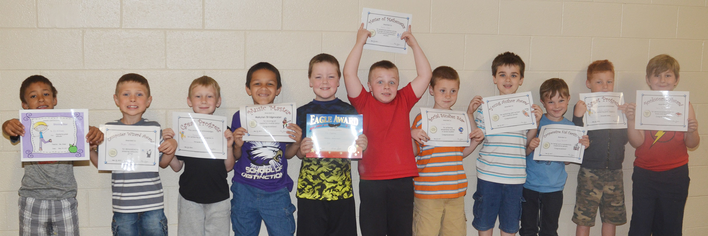 CES first-graders in Amanda Greer's class recently received awards for their academic work and classroom behavior this school year. From left are Eli Williams, Bryson Gabehart, Raleigh Spencer, Makyian Bridgewater, Eric Epperson, Hunter Clark, James Brunner, Sawyer Lange, Karson Burchett, Carter Wethington and Tommy Caswell. Absent from the photo are Braxton Giles-Osinger, Caleb Ortiz and Fabrizio Segura.