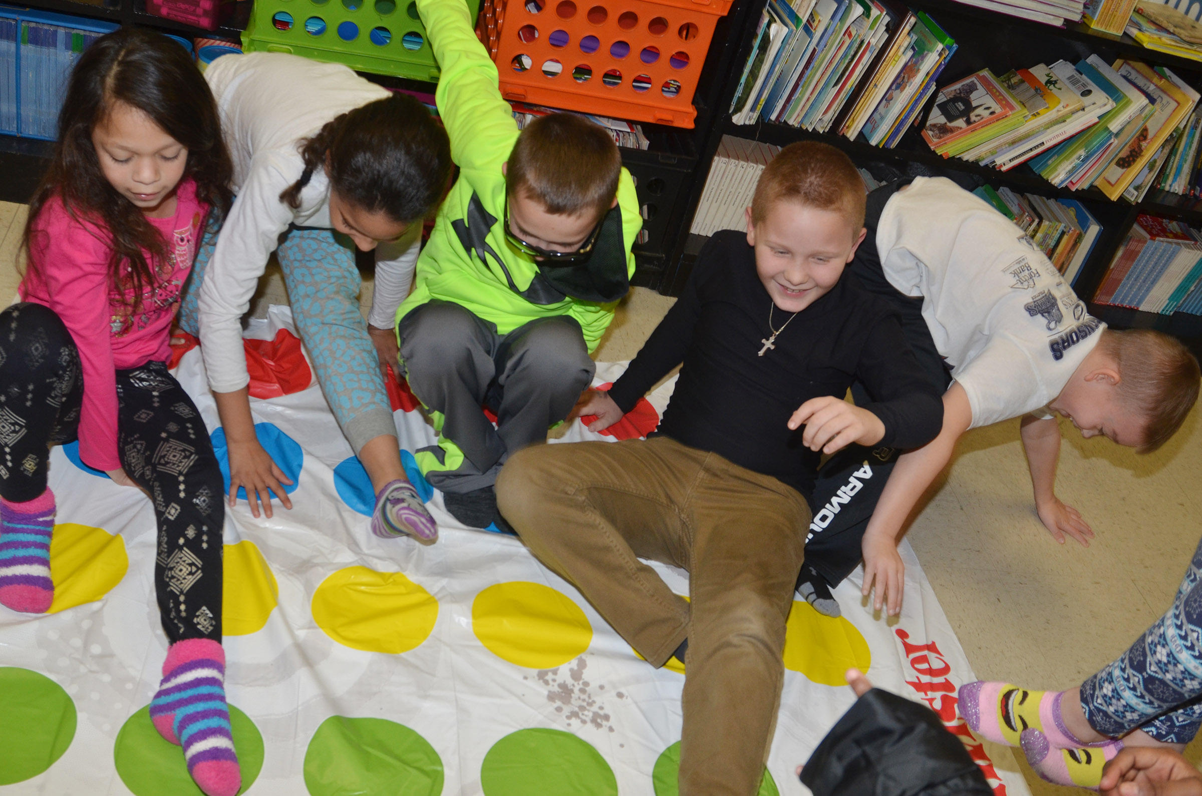 CES third-graders play Twister.