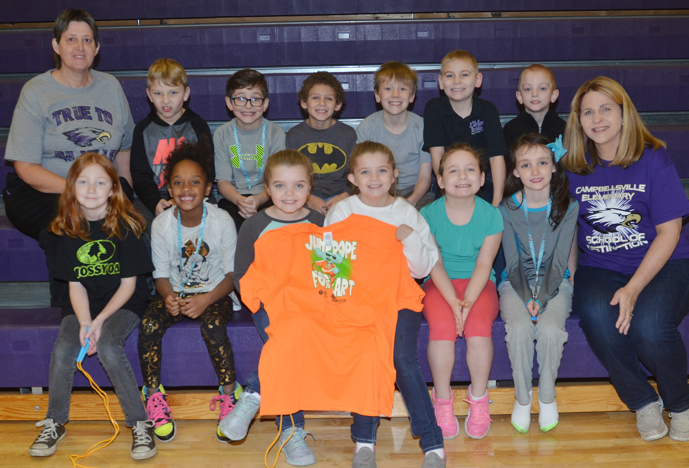 This year's CES Jump Rope for Heart participants are, front, from left, third-grader Savannah Wethington, second-graders Lashonda Wilkinson and Jaylin Christie, third-graders Chyanne Christie, Aliyah Burton and Paige Ritchie and CES guidance counselor Sonya Orberson. Back, Campbellsville Middle School special education teacher Katie Wilkerson, second-graders Mason Davis, Tye Rhodes and Trever Lasley, third-grader Connor Coots and second-graders Joseph Greer and Evan Cundiff. Absent from the photo is third-grade participant Nora Harris.