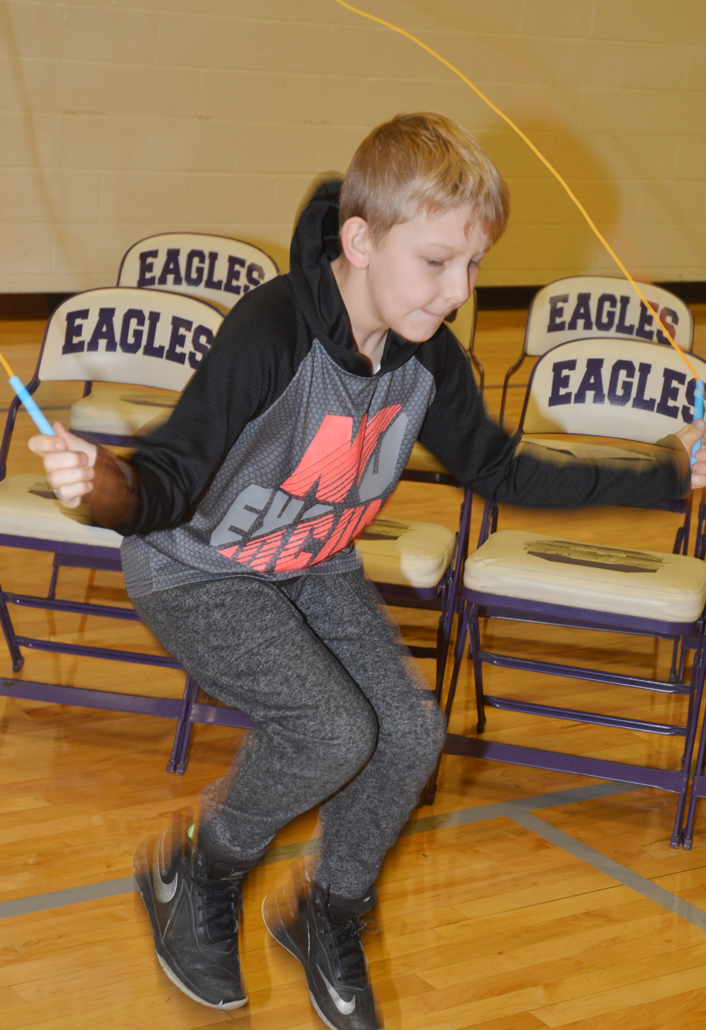 CES second-grader Mason Davis jumps rope.