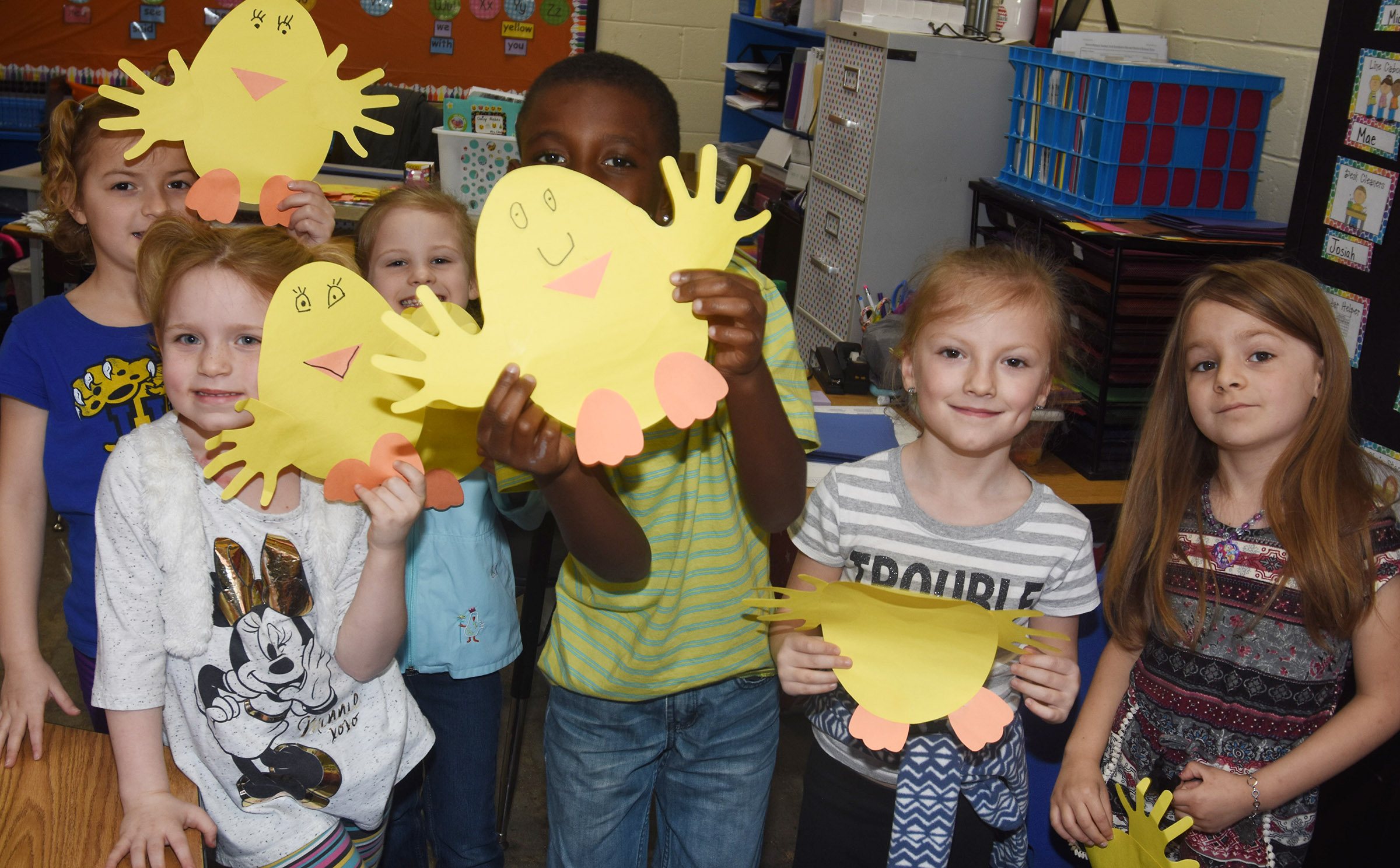 From left, CES kindergarteners Mae Miller, Macilynn Mann, Riley Bright, Zyhaven Taylor, Piper Patterson and Daisy Rakes hold their chicks.