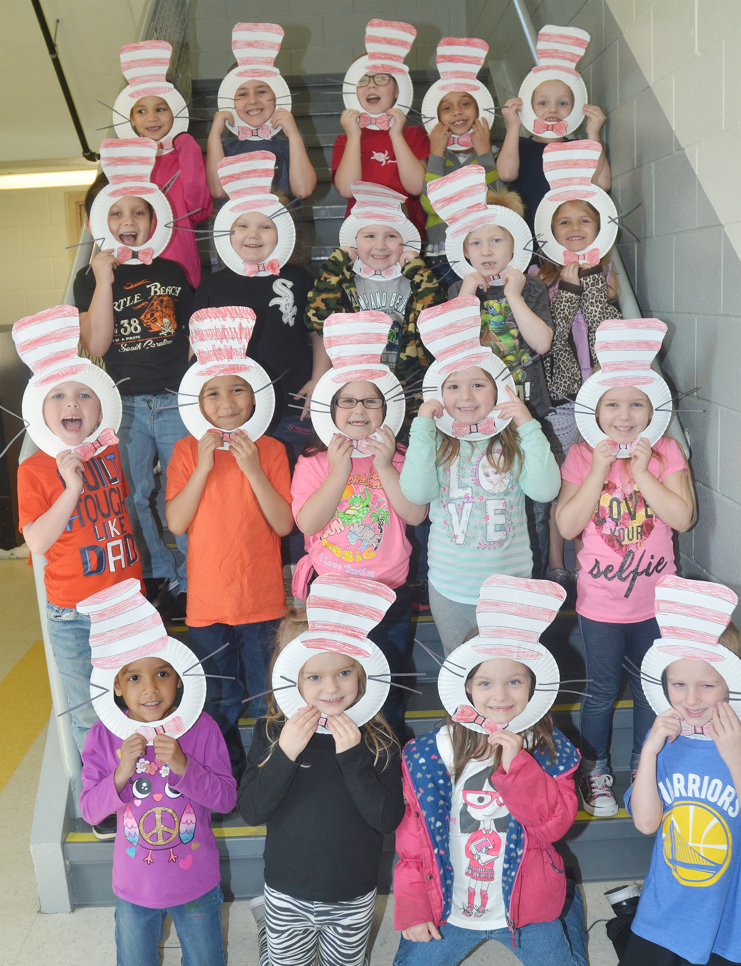 CES kindergarteners in Lisa Wiseman's class wear their Cat in the Hat masks.