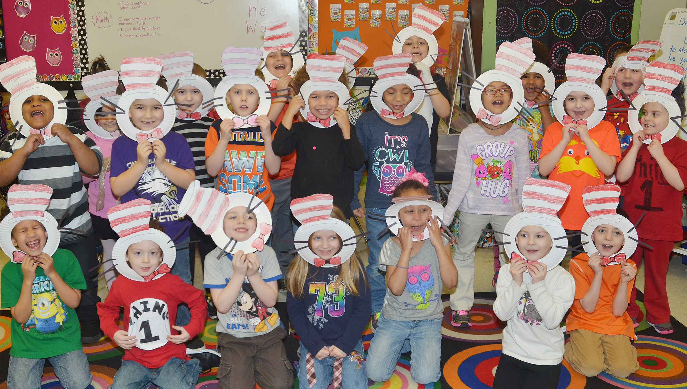 CES kindergarteners in Nikki Price's class wear their Cat in the Hat masks.