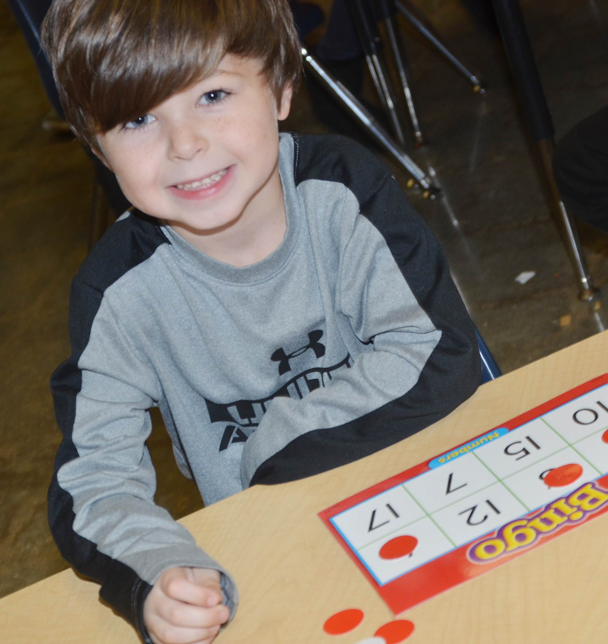 CES kindergartener Bentley Wilhoite plays bingo.