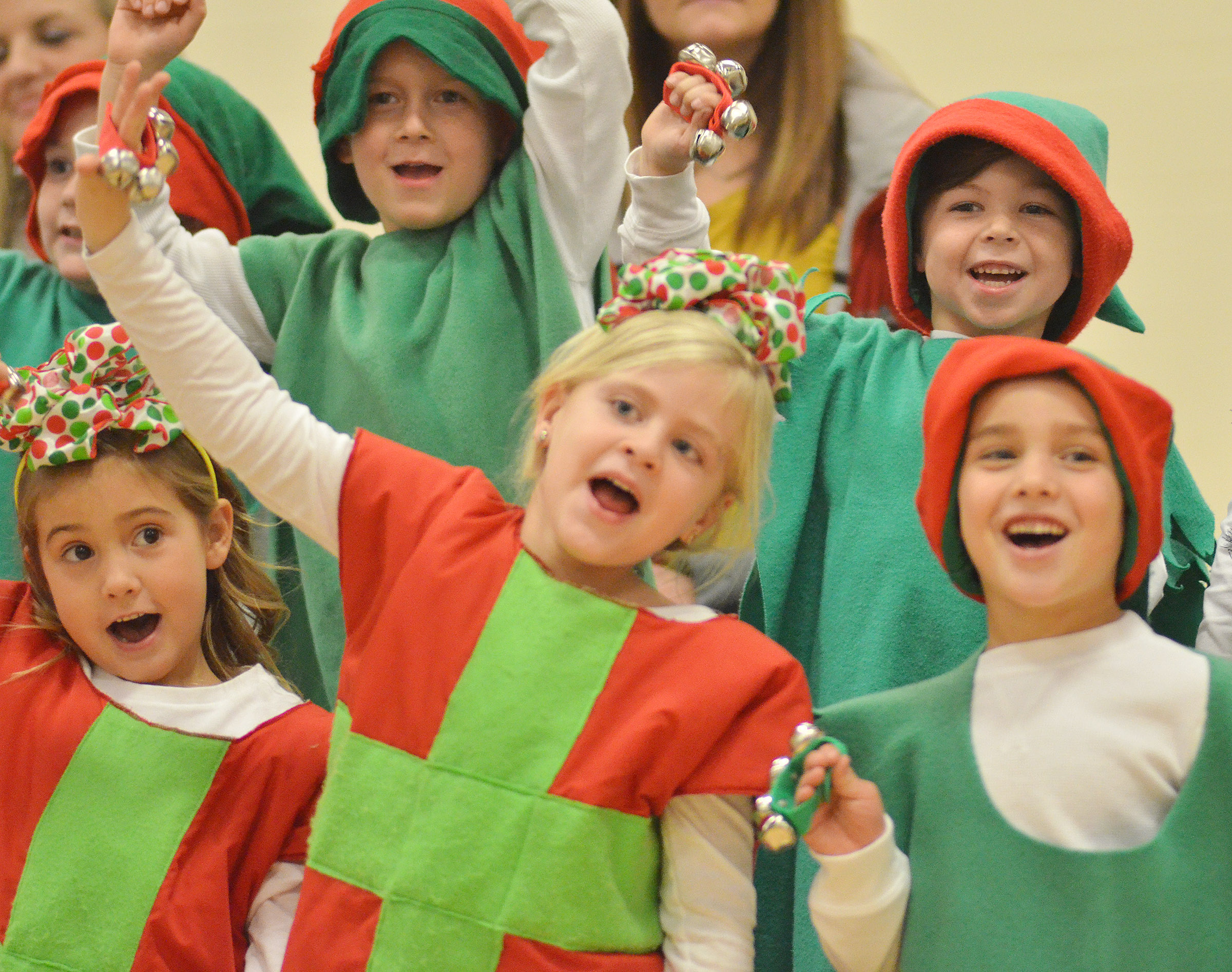 CES kindergarteners, from left, front, Blakely Gray, Remi Petett and Dane Gray sing and dance. In back are Jacob Parrish and Bentley Wilhoite.