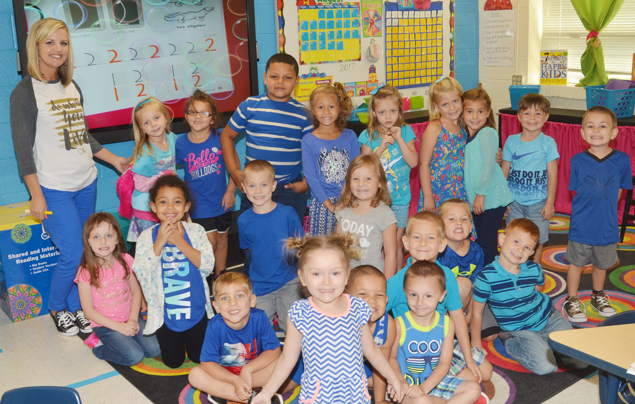 CES kindergarteners in Leanna Cundiff's class wear blue for Color Week.
