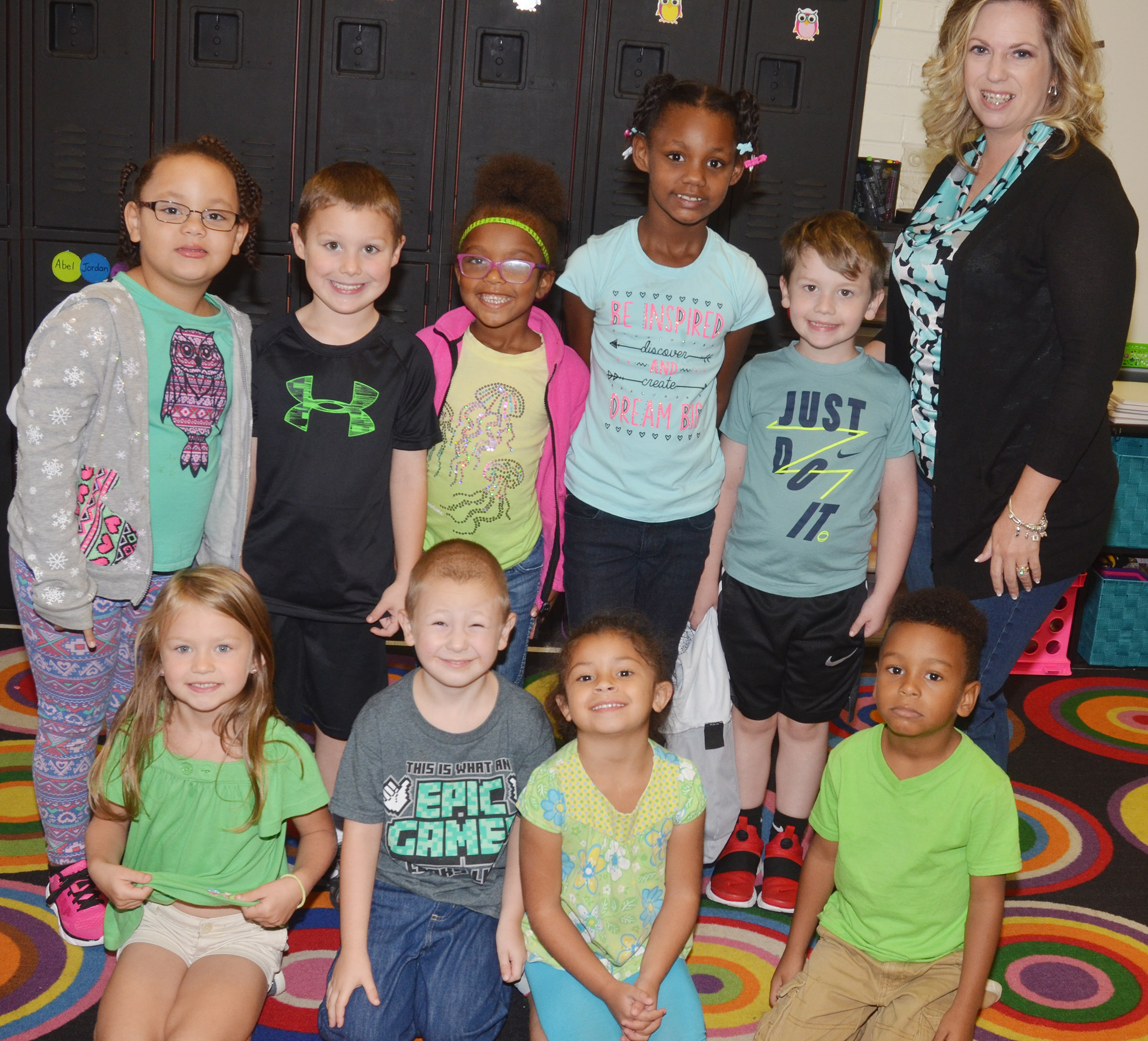 CES kindergarteners in Nikki Price's class wear green for Color Week.