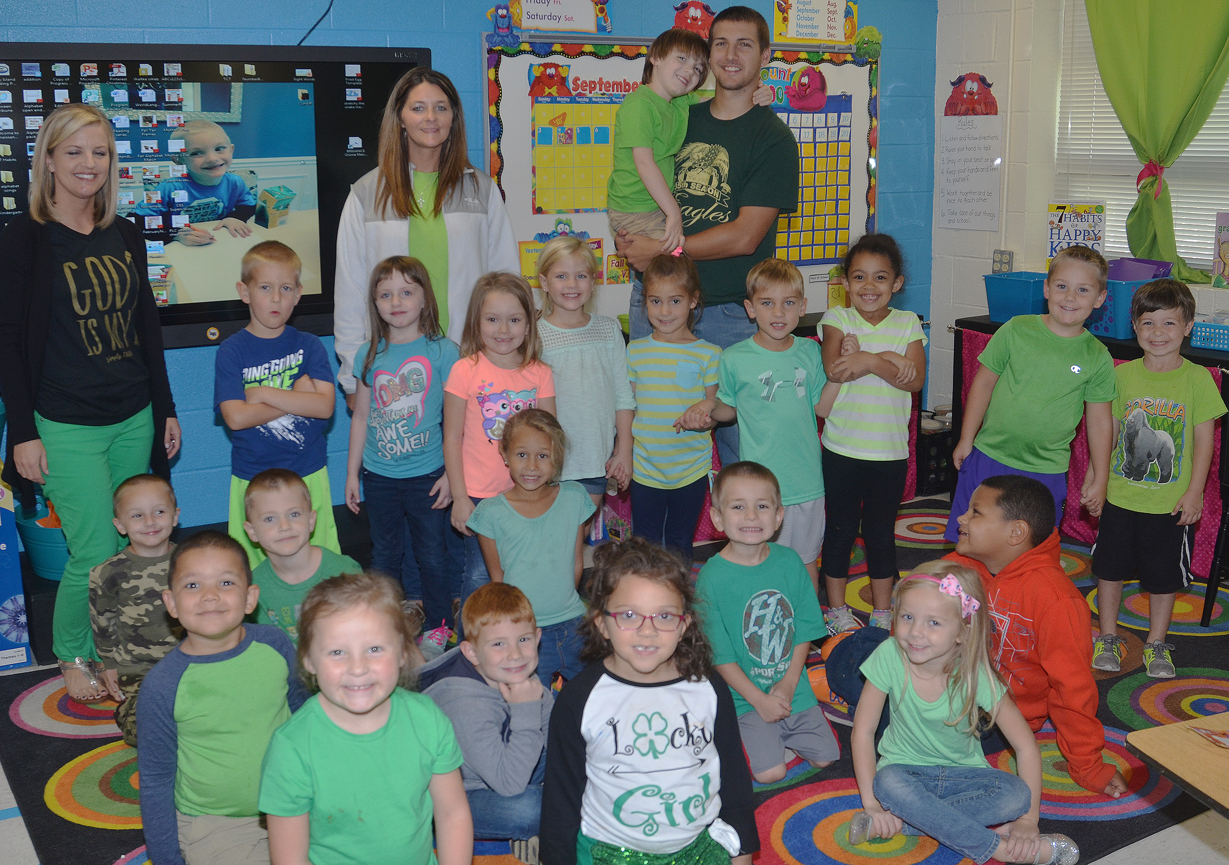 CES kindergarteners in Leanna Cundiff's class wear green for Color Week.
