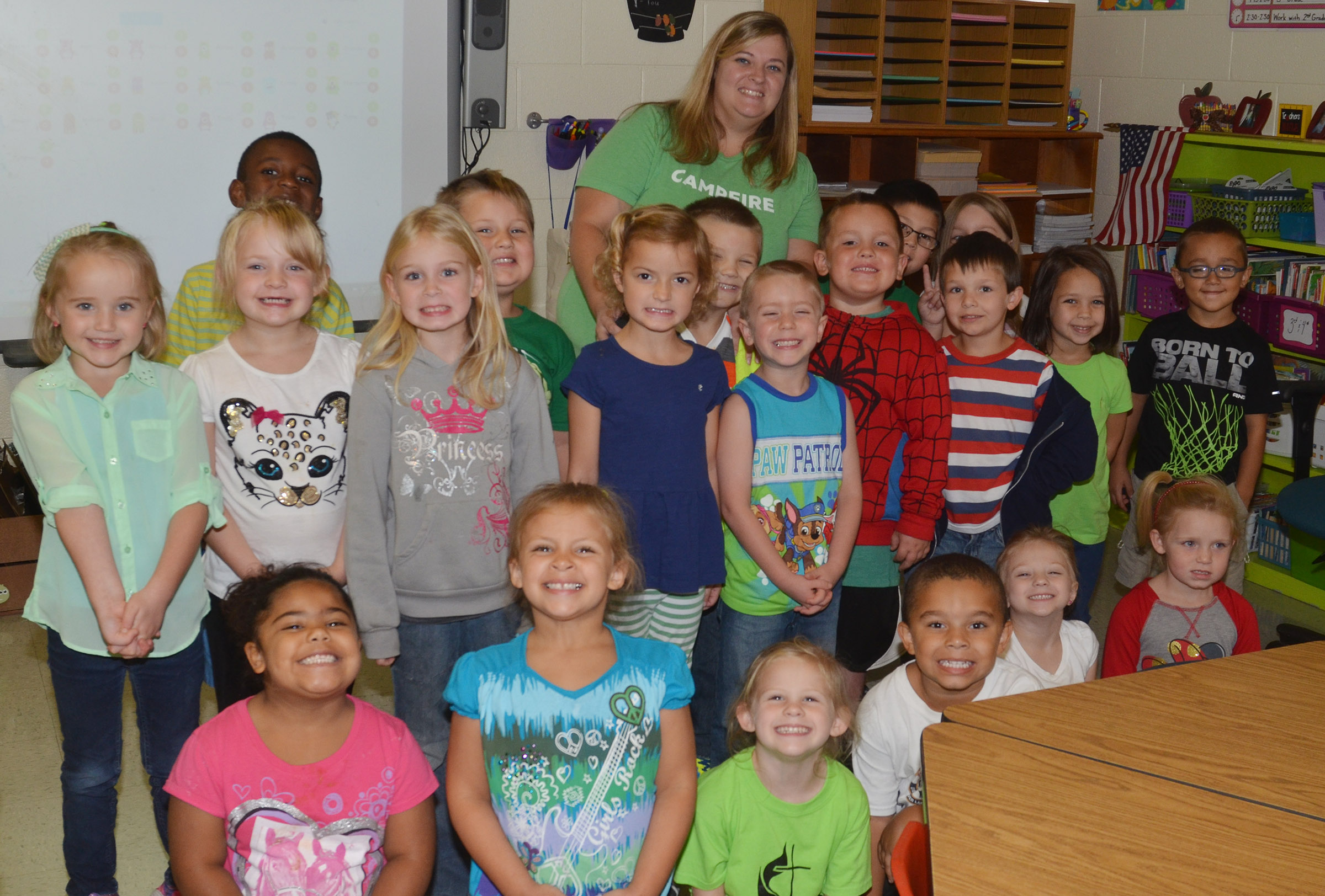 CES kindergarteners in Kimberly Clark's class wear green for Color Week.