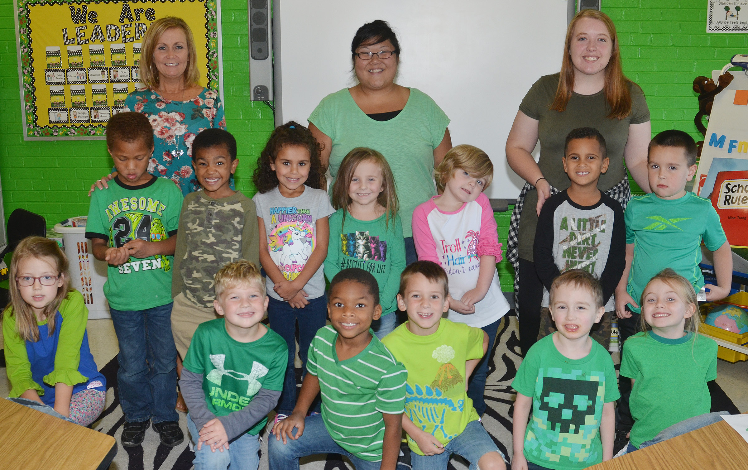 CES kindergarteners in Lisa Wiseman's class wear green for Color Week.