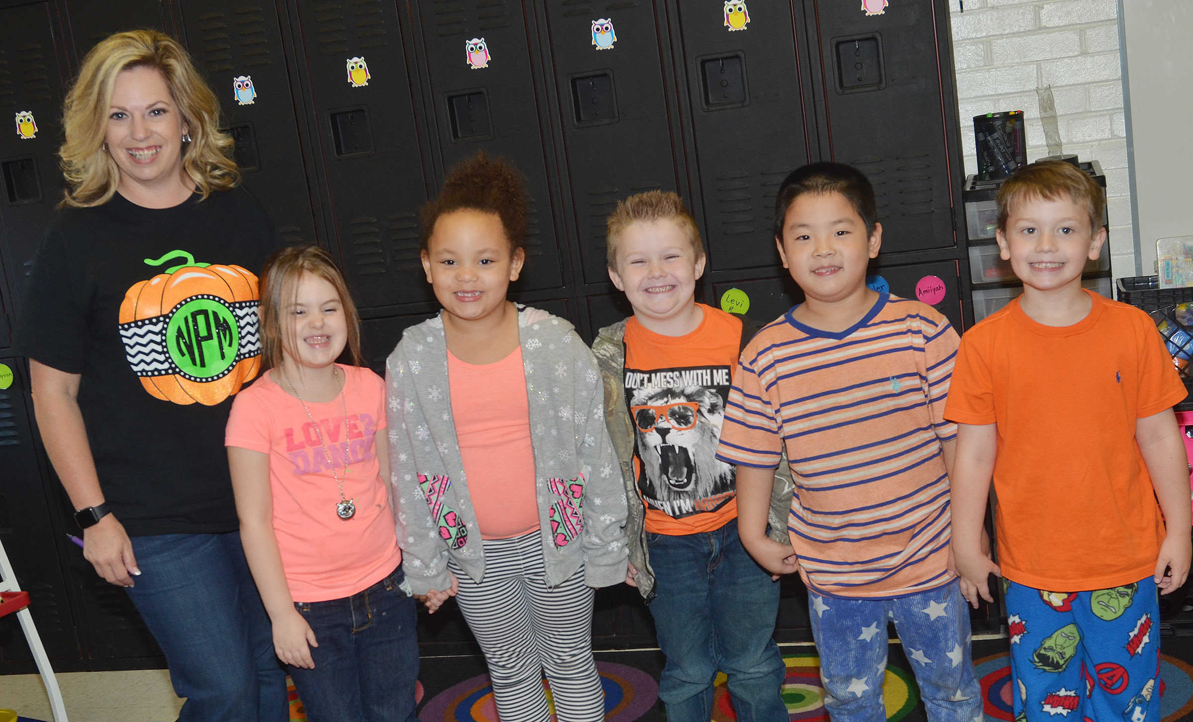 CES kindergarteners in Nikki Price's class wear orange for Color Week.