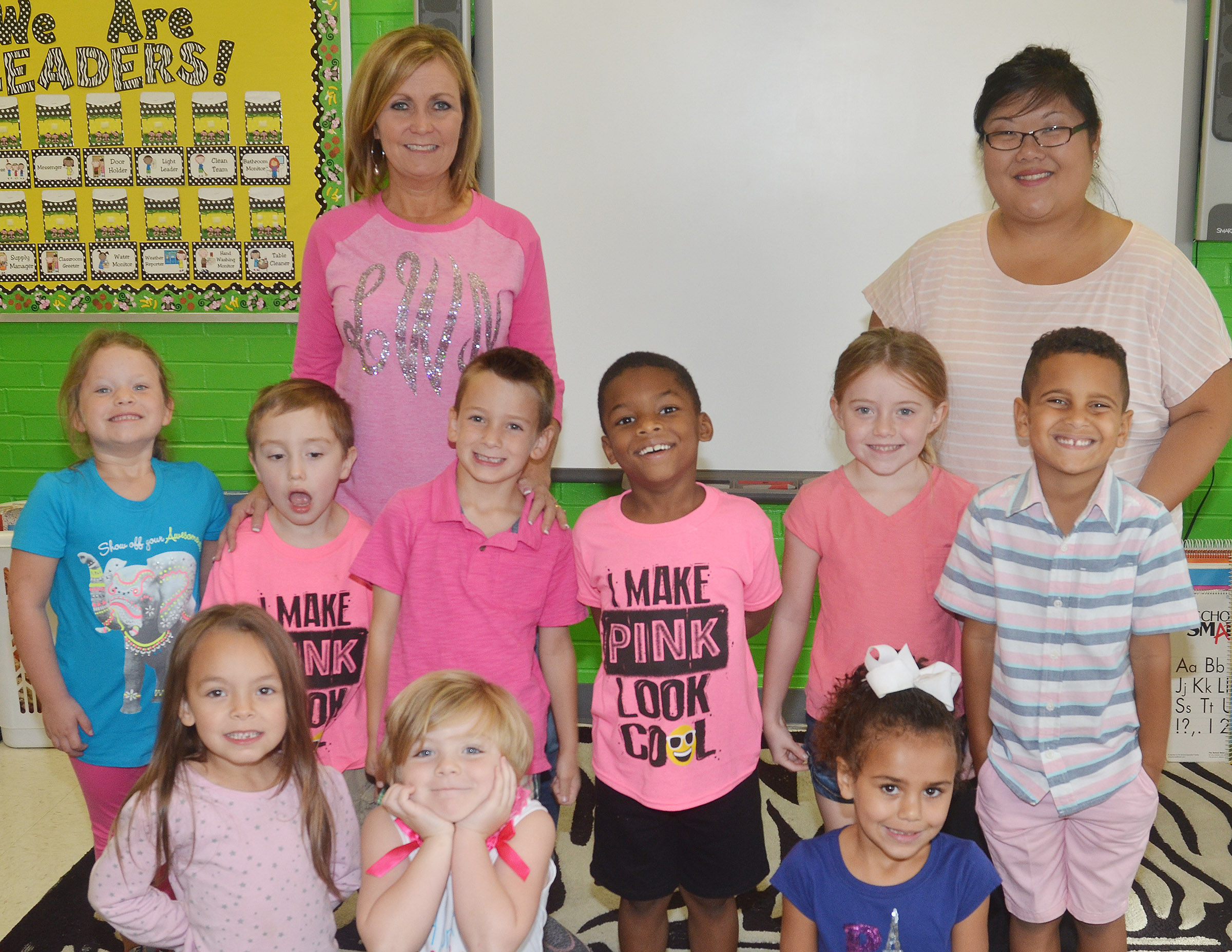 CES kindergarteners in Lisa Wiseman's class wear pink for Color Week.