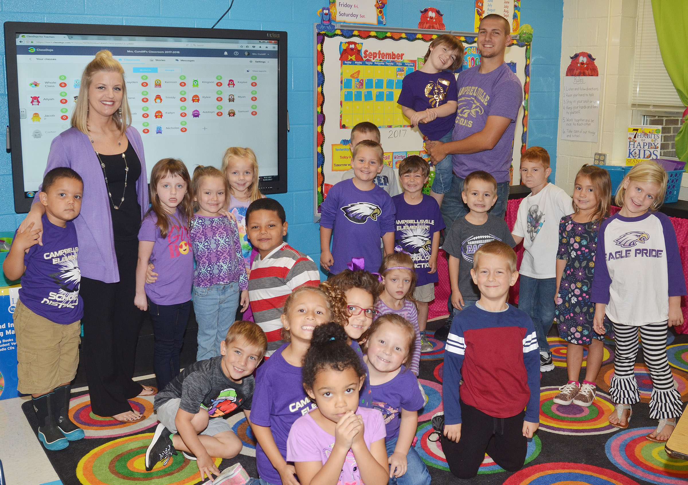CES kindergarteners in Leanna Cundiff's class wear purple for Color Week.