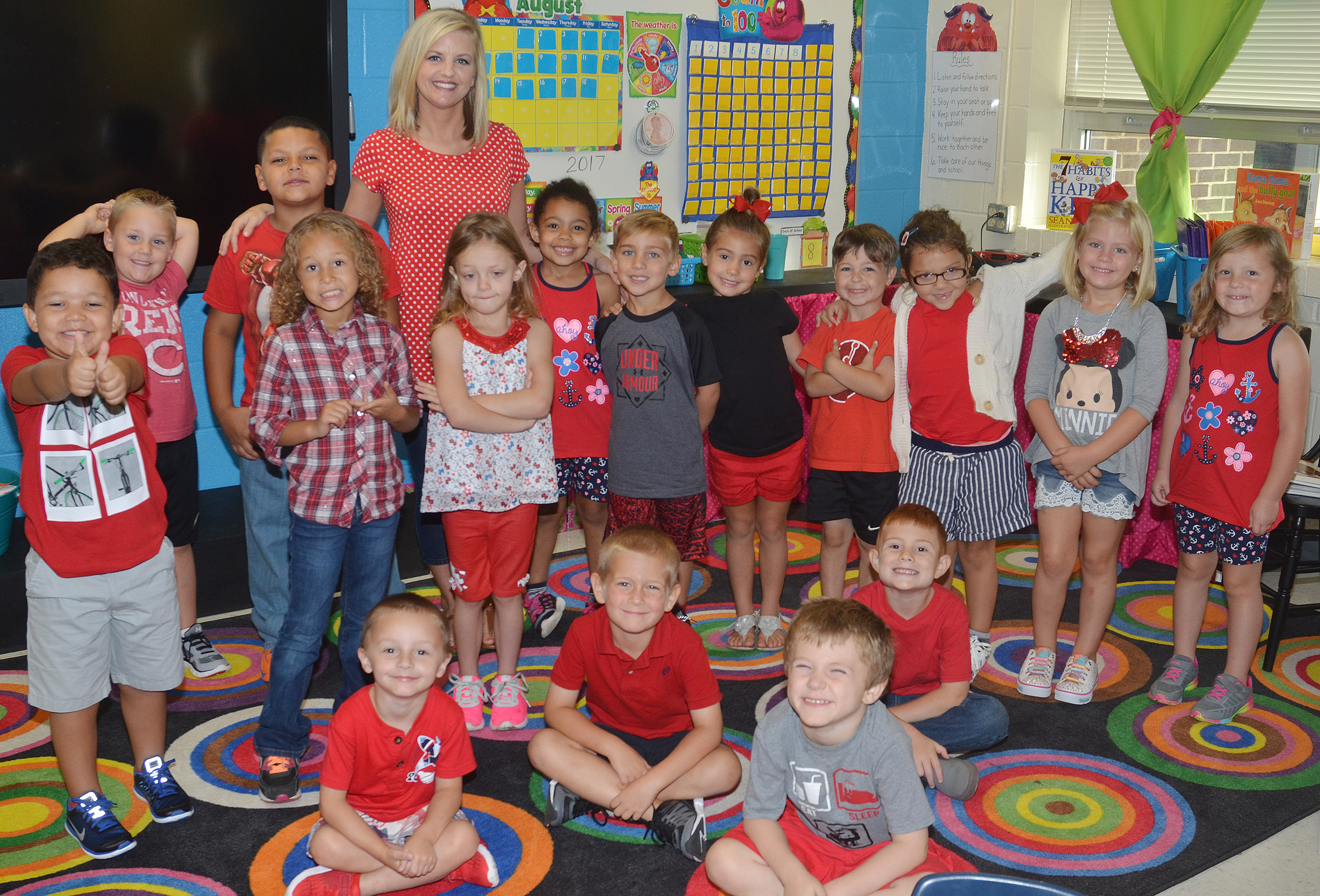 CES kindergarteners in Leanna Cundiff's class wear red for Color Week.