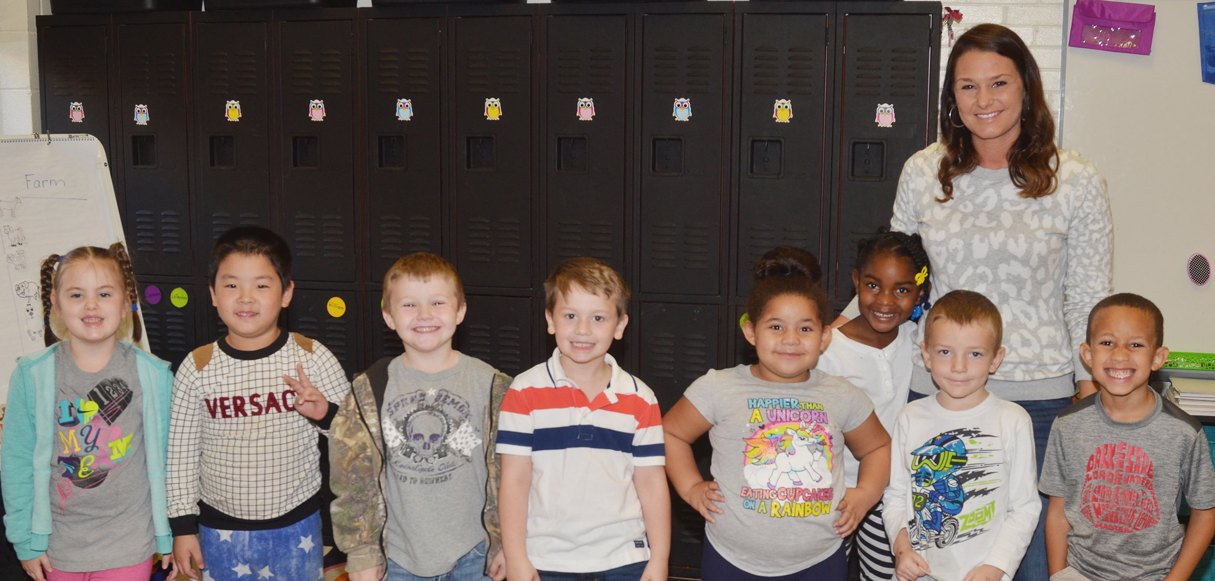 CES kindergarteners in Nikki Price's class wear white and gray for Color Week.