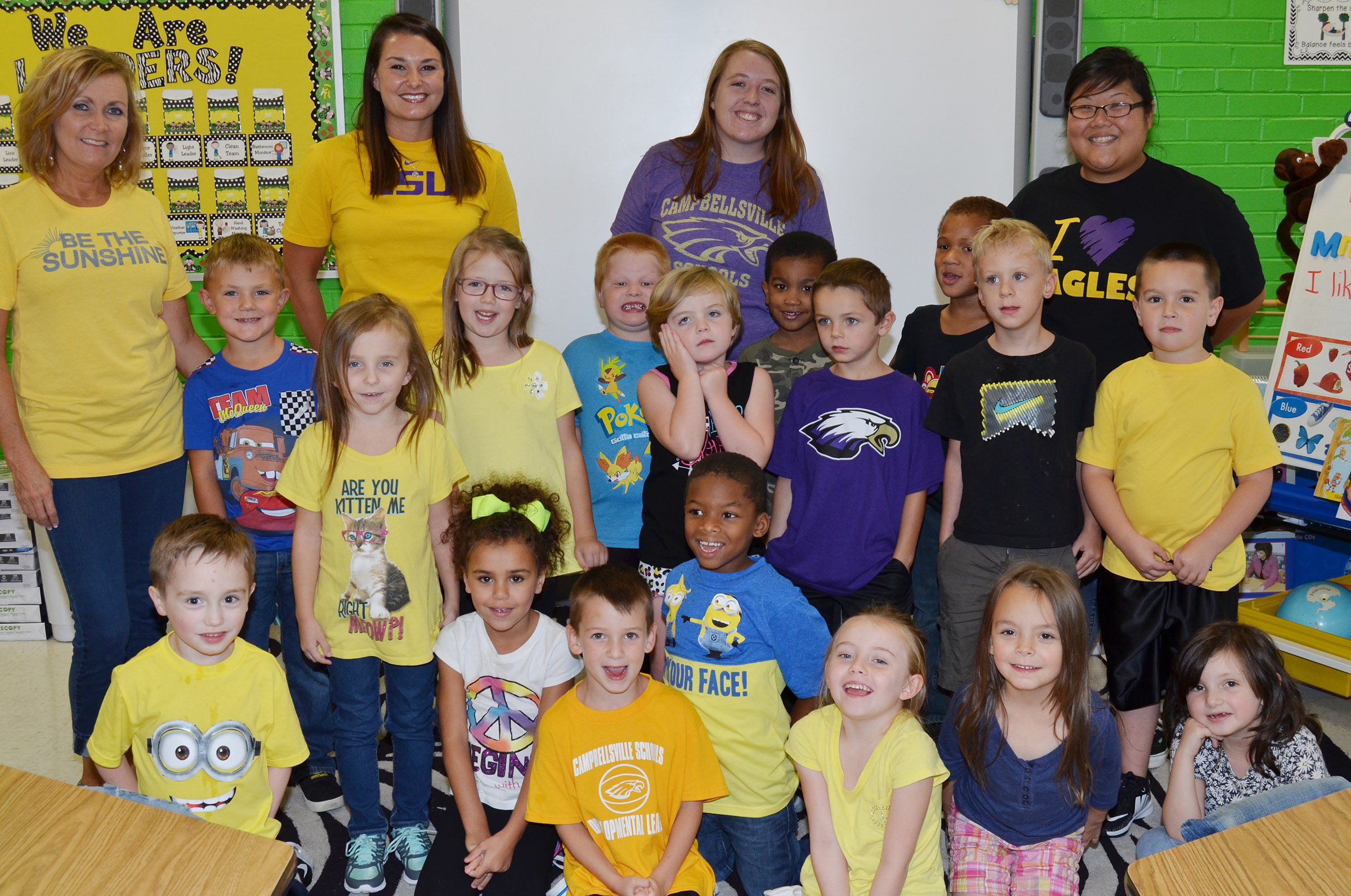 CES kindergarteners in Lisa Wiseman's class wear yellow for Color Week.