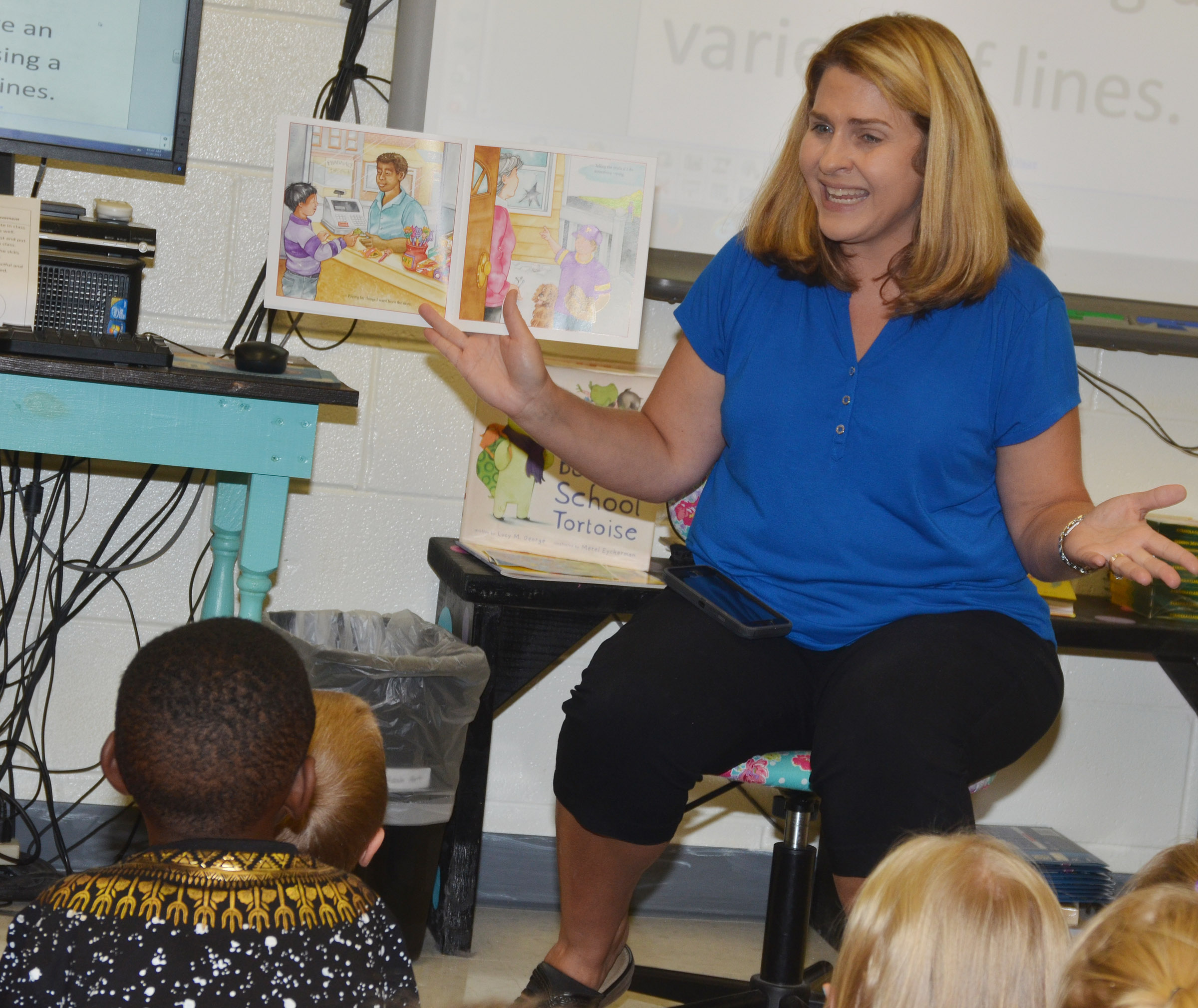 CES Guidance Counselor Sonya Orberson teaches kindergarten students about being kind and respectful.