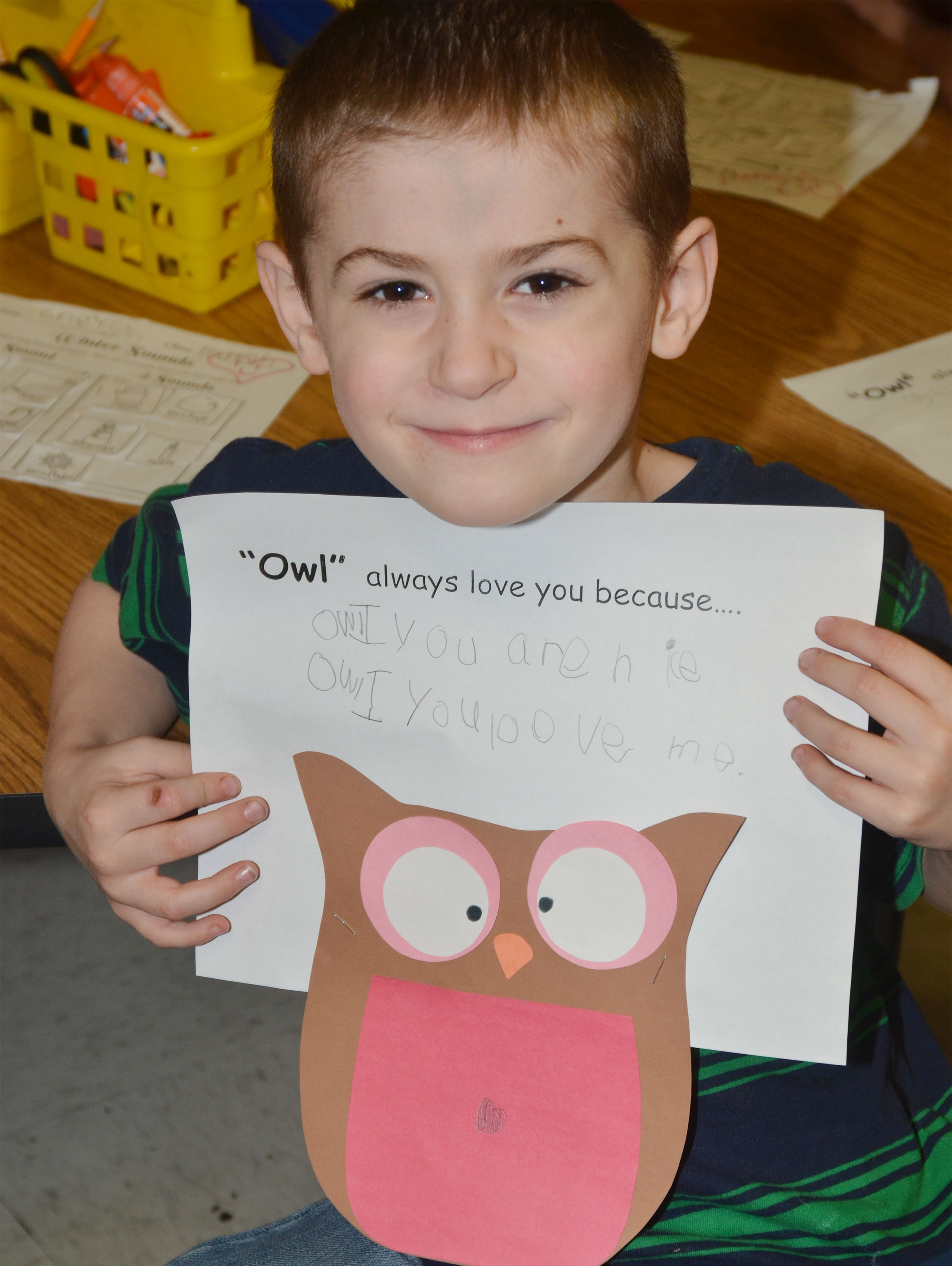 CES kindergartener Greyson Trulock holds his owl.