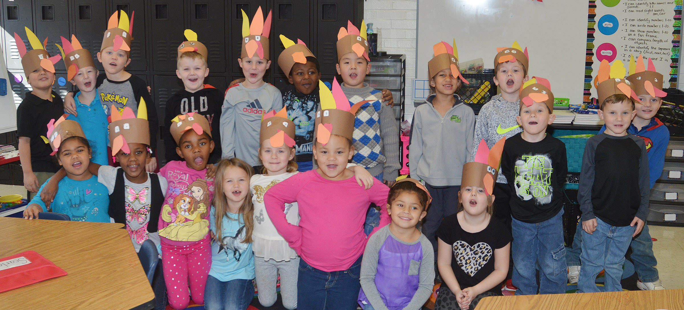 CES kindergarteners in Nikki Price's class wear their turkey hats.