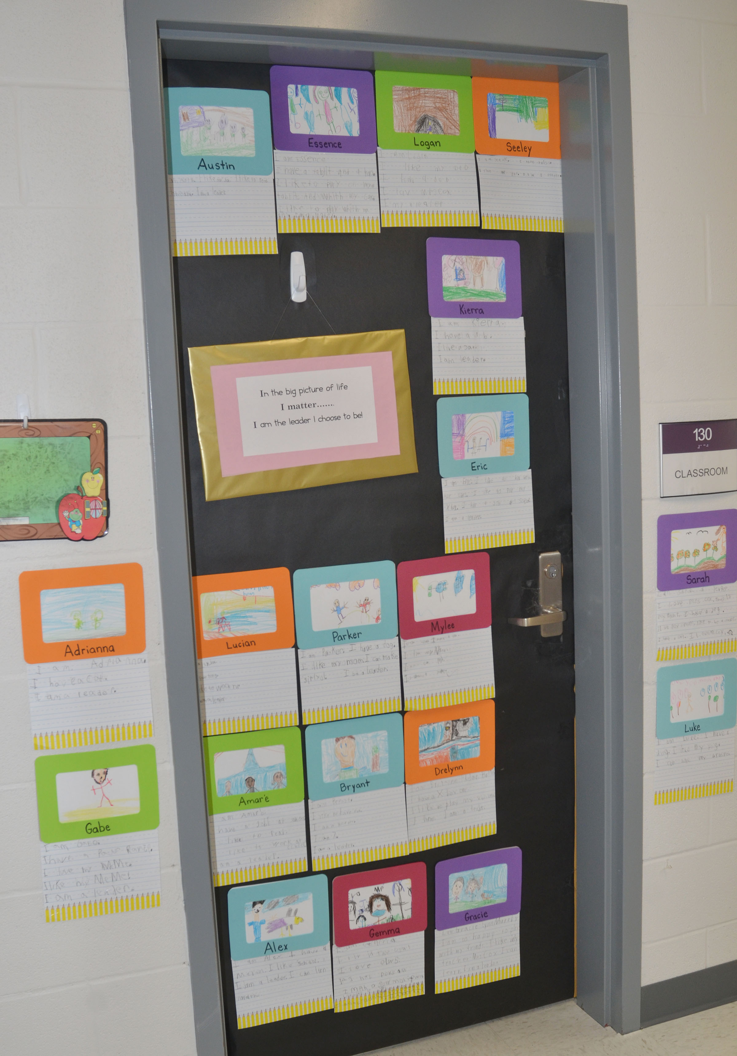 CES teachers are decorating their classroom doors using the Leader in Me theme.