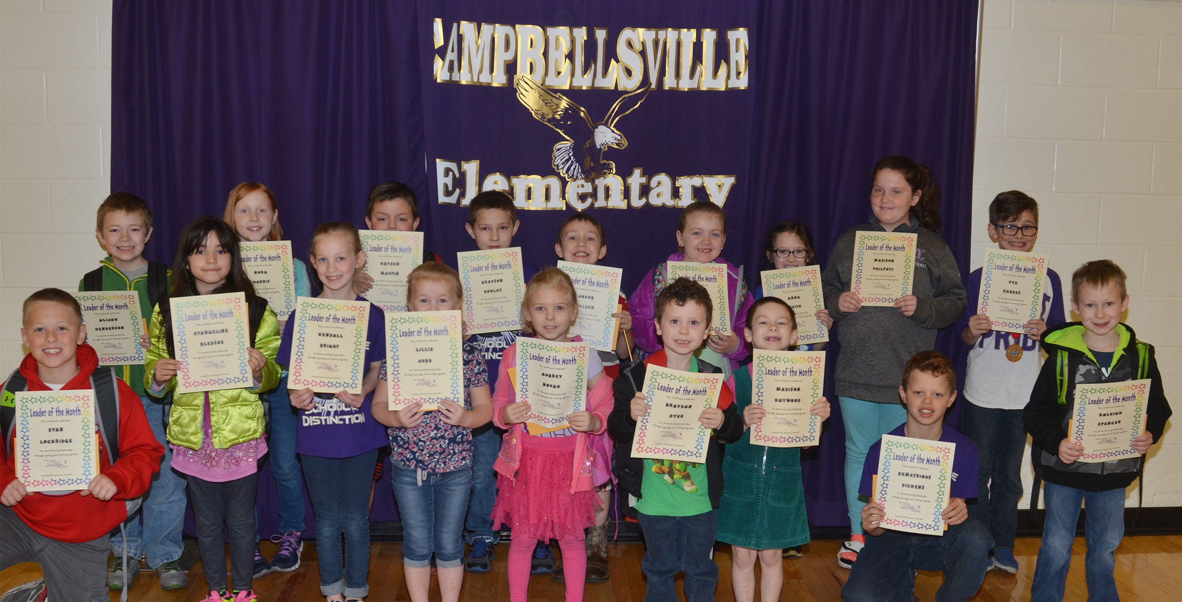 From left, front, are second-grader Evan Lockridge, third-graders Evangeline Bledsoe and Kendall Bright, kindergarteners Lillie Judd, Aubrey Novak, Braydan Dyer and Madison Haywood, third-grader Demetrious Dickens and first-grader Raleigh Spencer. Back, second-grader Alijah Henderson, third-grader Nora Harris, second-grader Hayden Maupin, third-grader Grayson Dooley, first-graders Jacob Golden, London Whitlow and Anna Keith, third-grader Madison Philpott and second-grader Tye Rhodes. Absent from the photo are first-graders Rizzo McKenzie and Karson Burchett.