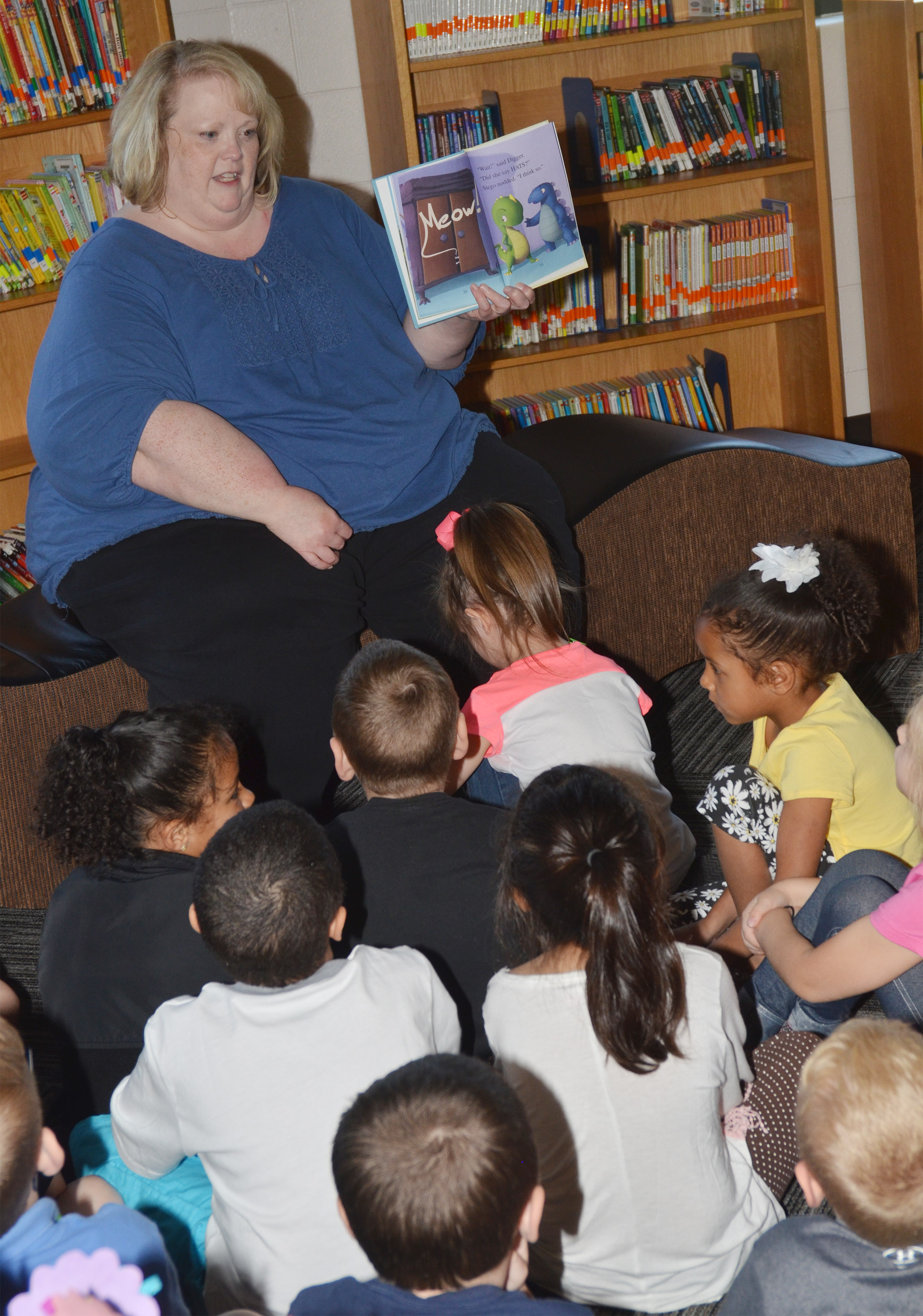 CES Media Specialist Susie Crowder reads to students.