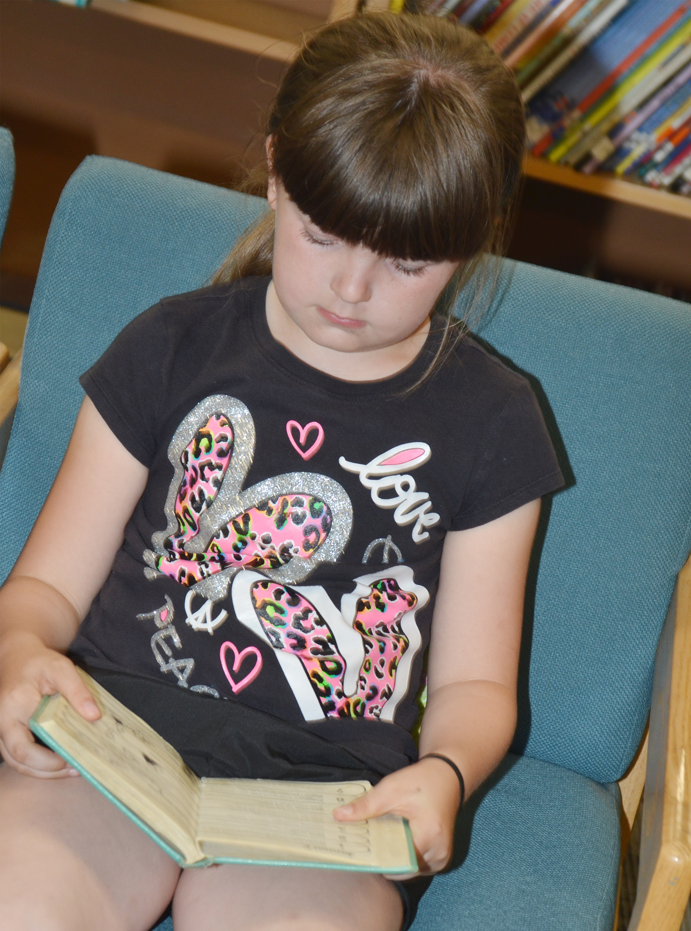 CES second-grader Kaleigh Wilhoite reads.