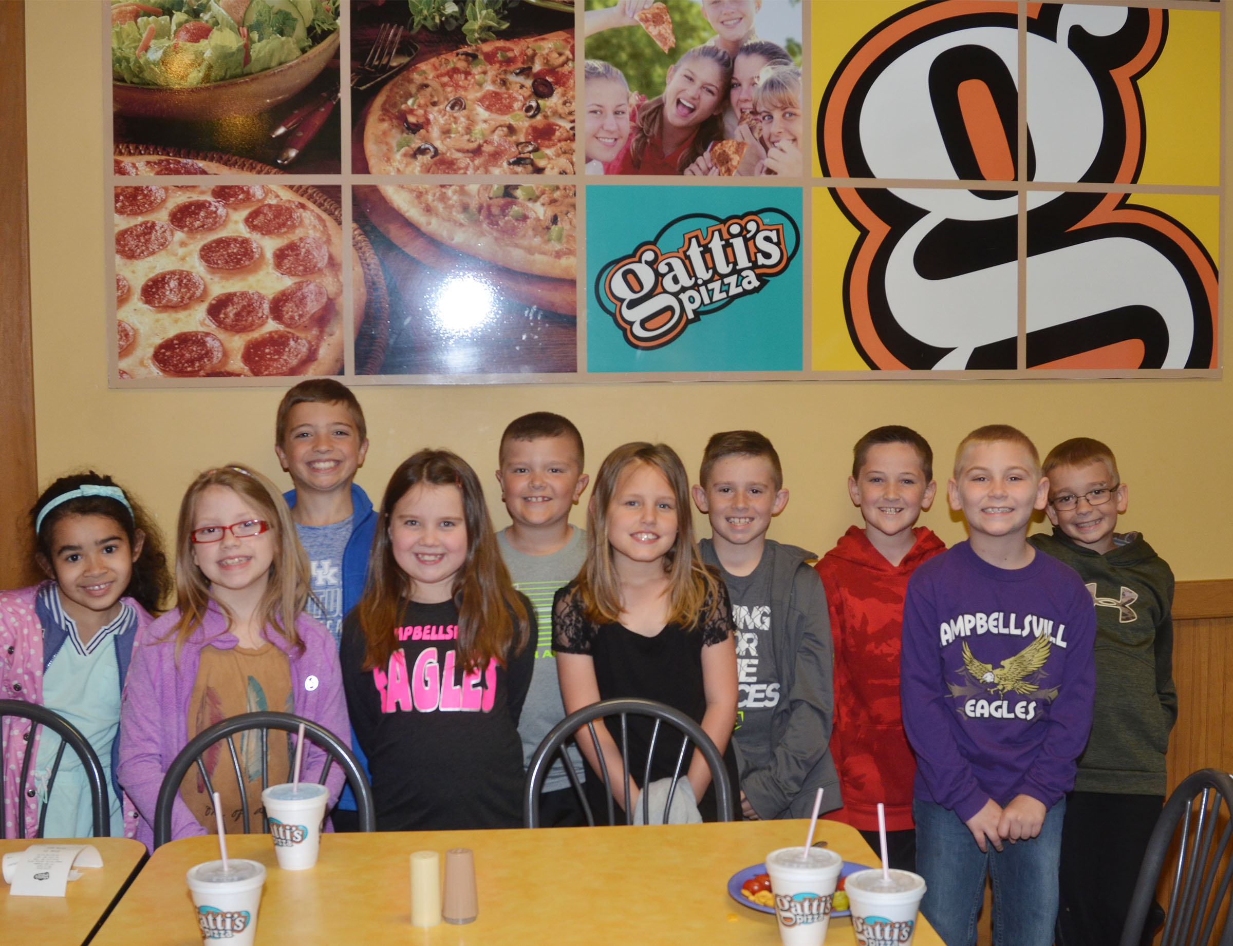 CES Lighthouse Team members enjoyed a lunch at Gatti's Pizza on Friday, May 5, for their hard work this school year. From left are second-grader Sophia Santos, third-graders Gracie Pendleton, Carson Mills and Maylee Wilds, second-grader Cayton Lawhorn, third-grader Madisyn Bradfield, second-graders Luke Adkins, Lanigan Price and Joseph Greer and third-grader Cameron Estes.