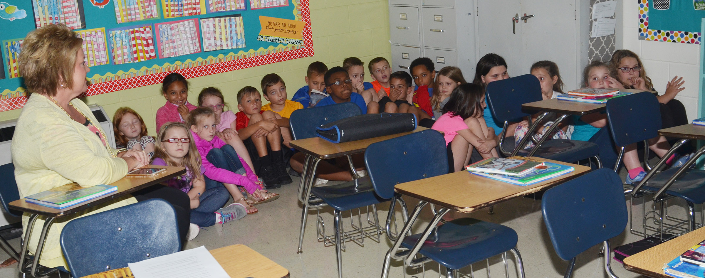 CES fourth-grade teacher Kaye Agathen talks to her students about what they should do in a lockdown.