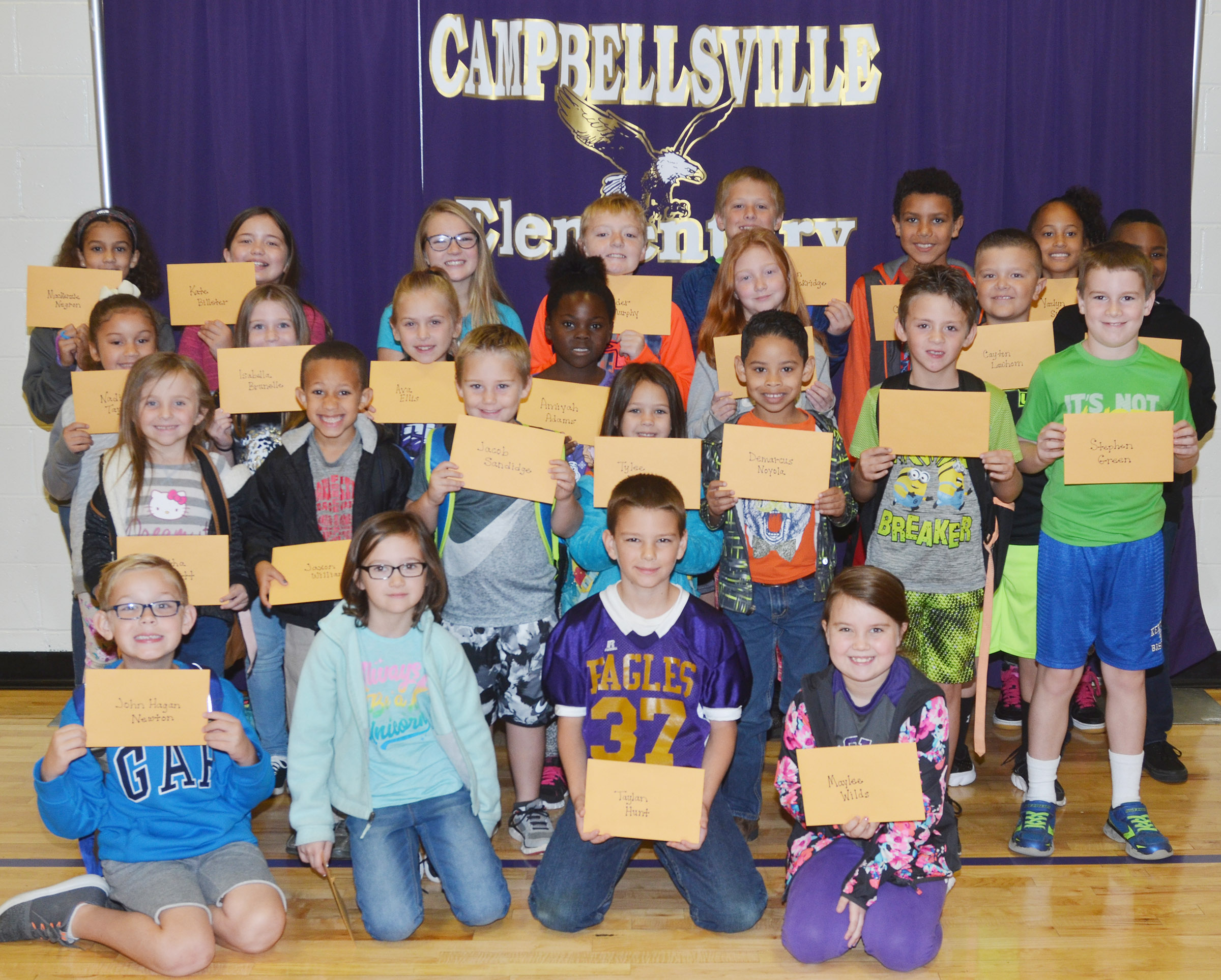 From left, front, are first-grader John Hagan Newton, second-grader Anna Keith, fifth-grader Taylan Hunt and fourth-grader Maylee Wilds. Second row, kindergartners Tabitha Leggett, Jaxon Williams, Jacob Sandidge and Tylee Britton, first-graders Demarcus Noyola and Bentley Shively and third-grader Stephen Green. Third row, second-graders Nadia Taylor and Izzy Brunelle, third-grader Ava Ellis, first-grader Aniyah Adams, fourth-grader Savannah Wethington, third-grader Cayton Lawhorn and fourth-grader Shaiden Calhoun. Back, fifth-graders Mackenzie Negron, Kate Billeter and Lilyan Murphy, fourth-grader Ryder Murphy, third-grader Evan Lockridge, fourth-grader Christian Hart and third-grader Yazlyn Sutton. Absent from the photo are first-grader Justice Nelson and second-grader Lainey Price.